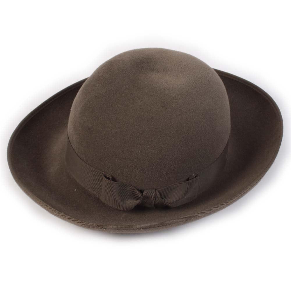 Helen Kaminski of Australia Brown Felted Hat with Grosgrain Ribbon Bow