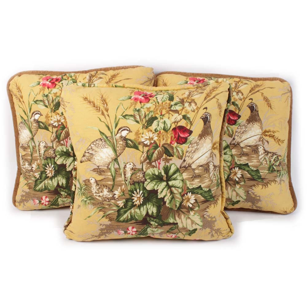 "Set of Three Scalamandre ""Edwin's Covey"" Decorator Pillow"
