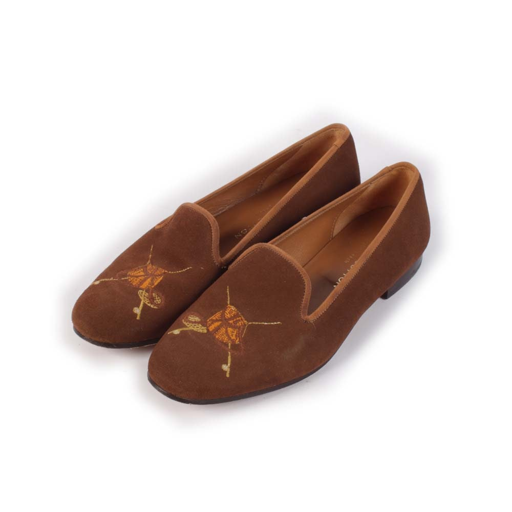 Women's Stubb & Wootton of Palm Beach Embroidered Creel Bag Suede Slippers