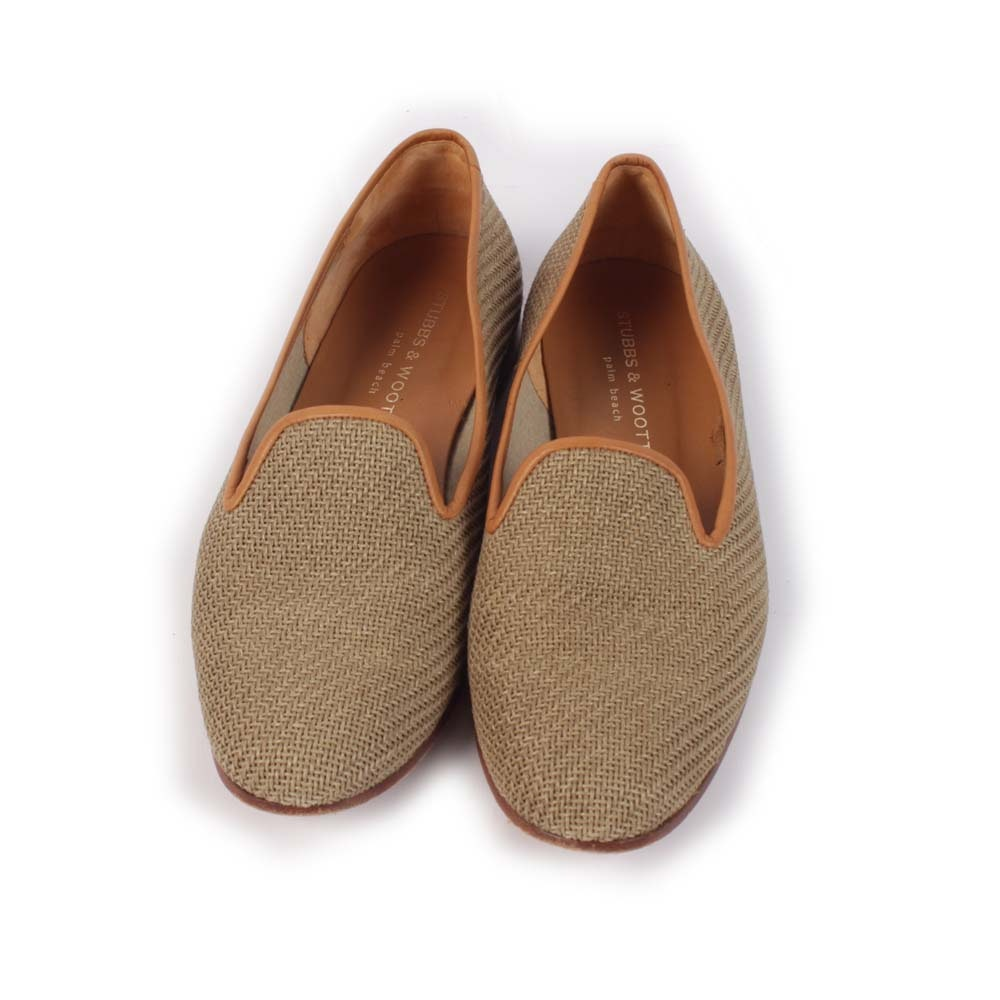 Women's Stubbs & Wootton of Palm Beach Woven and Tan Leather Slippers