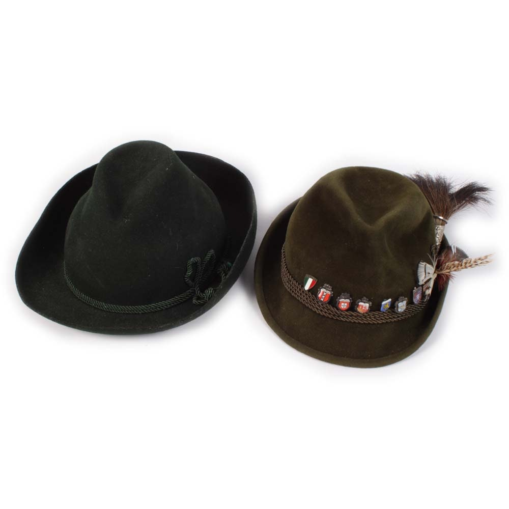 Men's German and Austrian Green Felted Tyrolean and Fedora Hats
