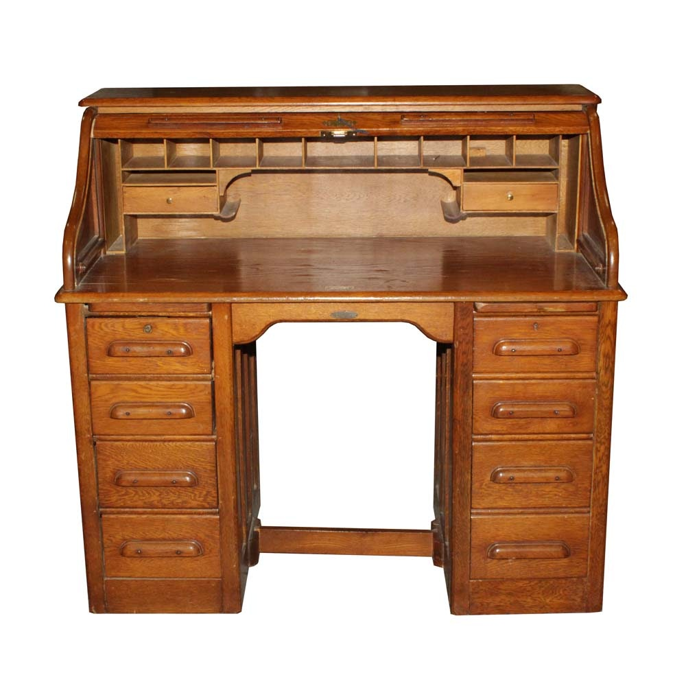 Vintage Bu0026G Furniture Company Roll Top Desk