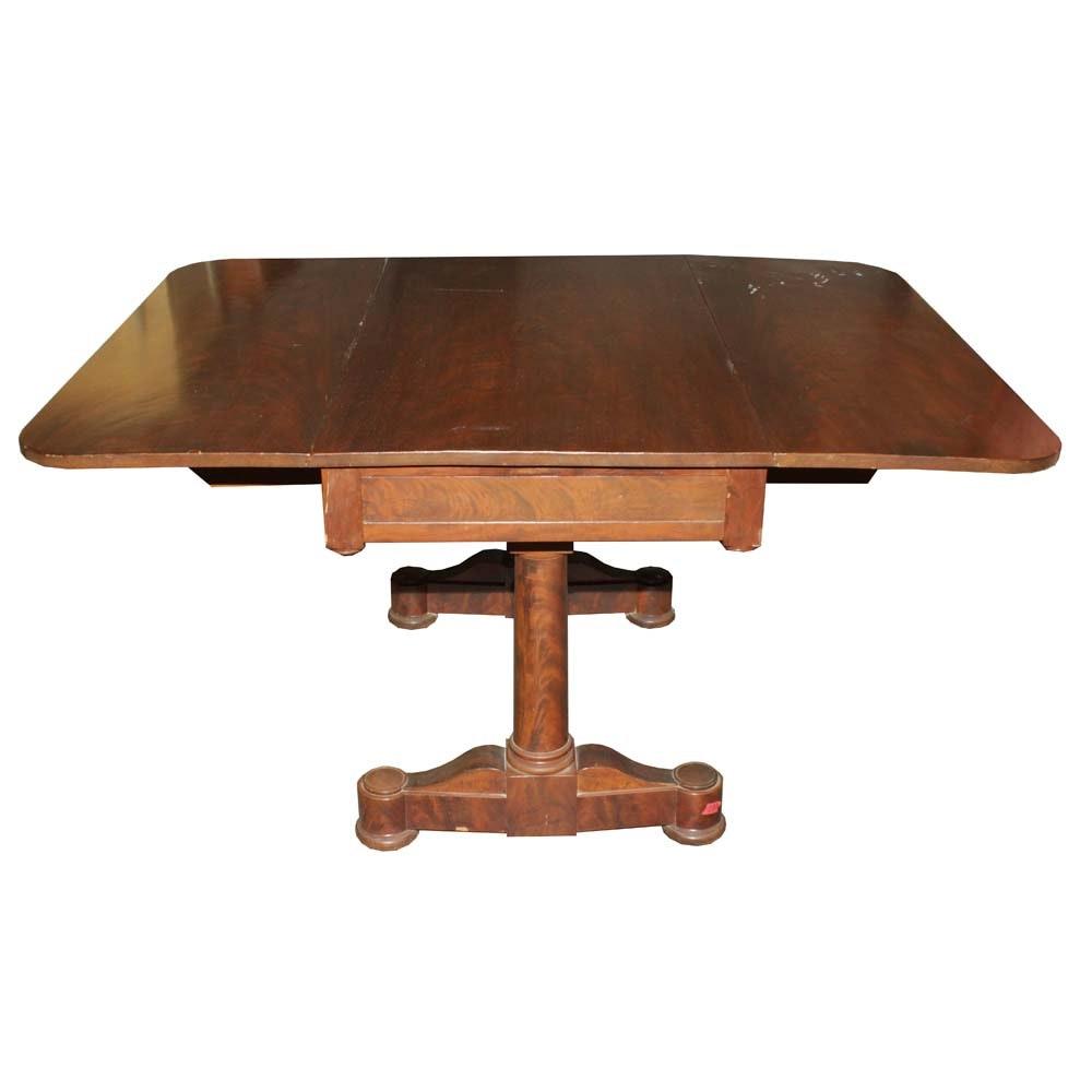 Vintage Mahogany Veneer Double Drop Leaf Table