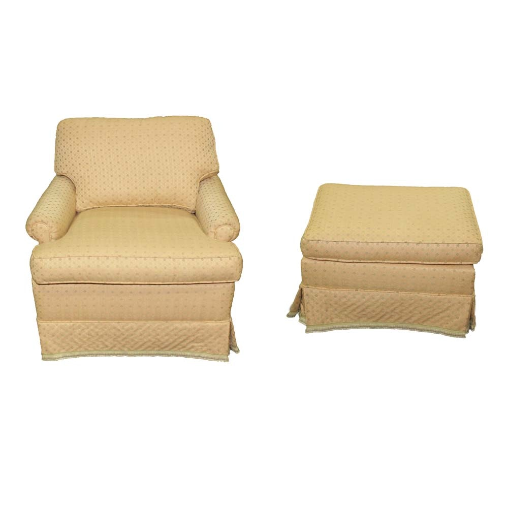 Vintage Upholstered Armchair with Ottoman