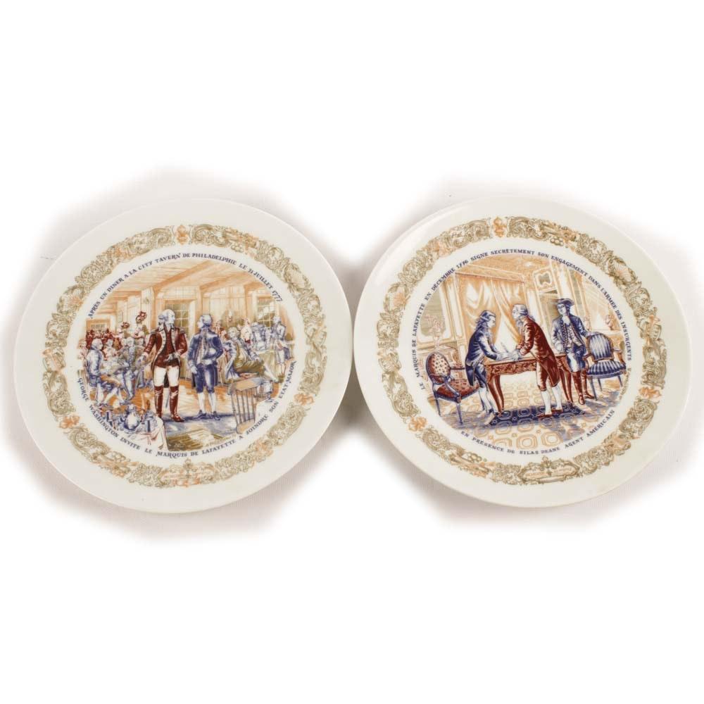 """Pair of D'Arceau-Limoges """"Lafayette Legacy Collection"""" Porcelain Plates"""