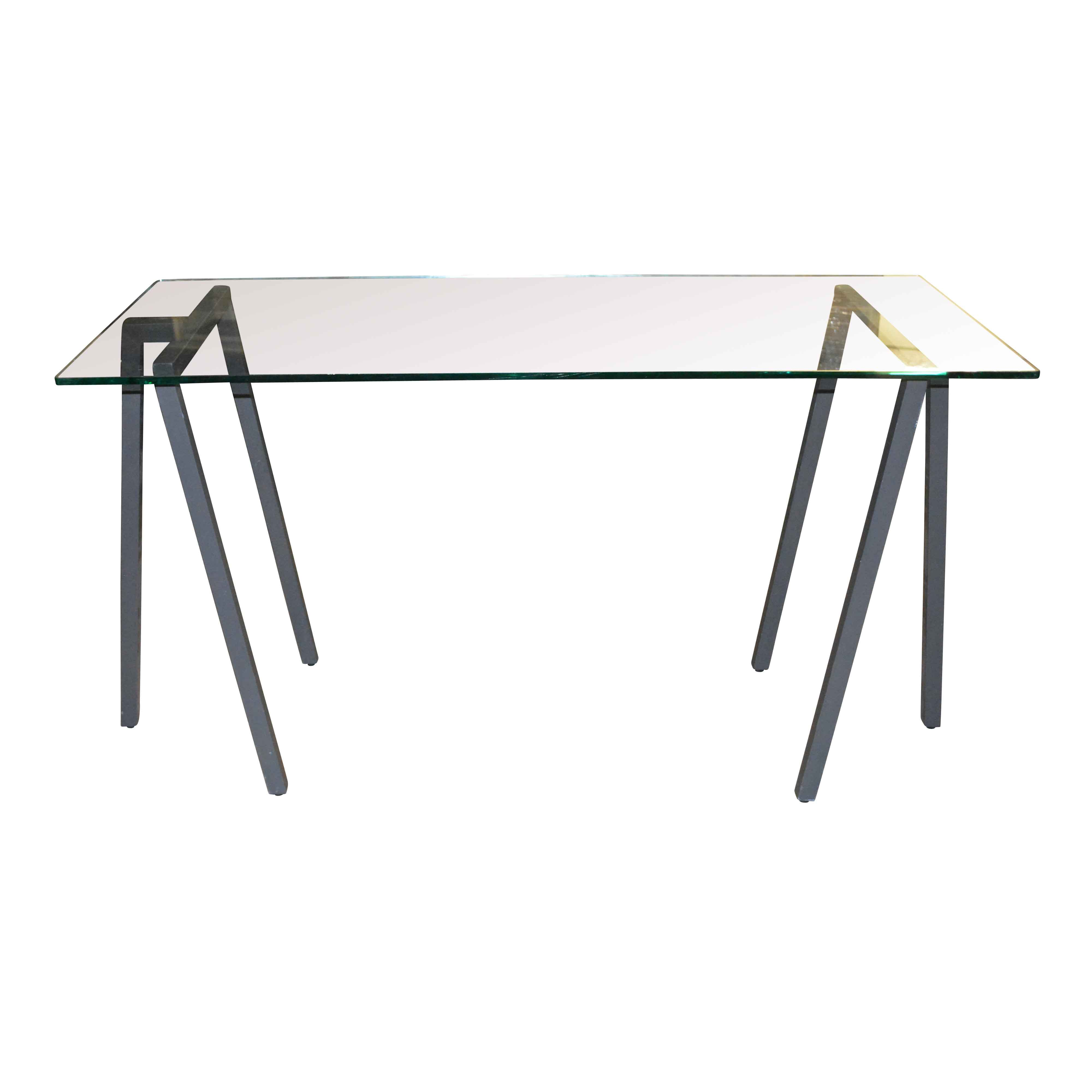 Glass Console Table with Metal Legs