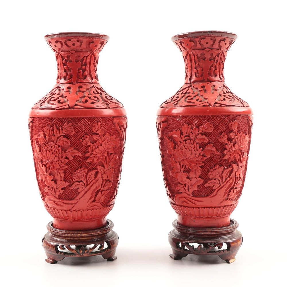 Pair of Chinese Cinnabar Style Vases