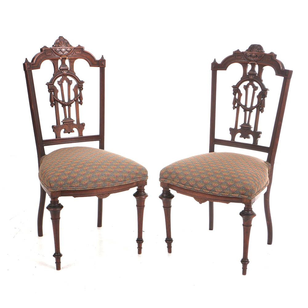 Pair of Antique Victorian Renaissance Revival Walnut and Parcel-Gilt Side Chairs