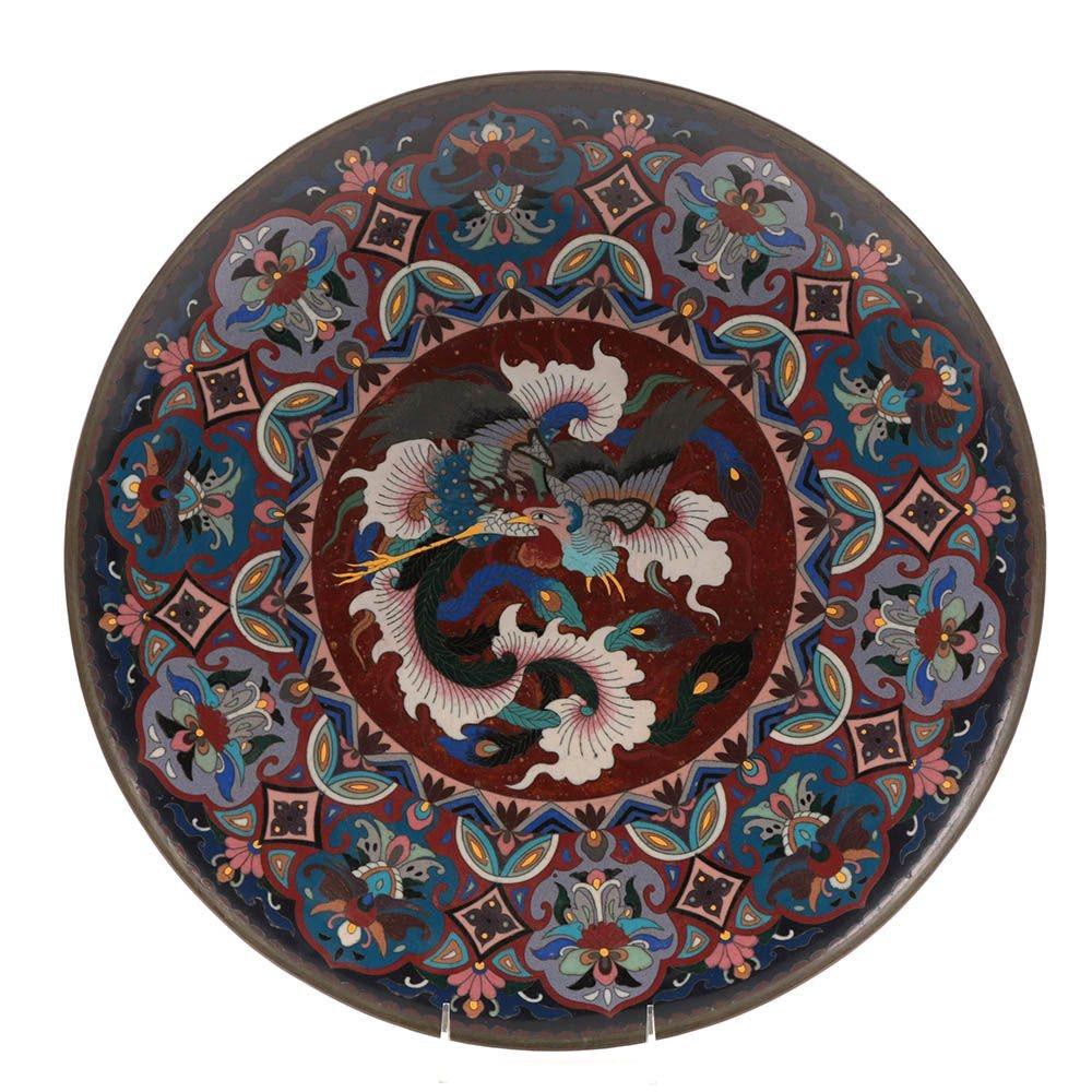 Large Japanese Meiji Period Cloisonné Enamel Charger