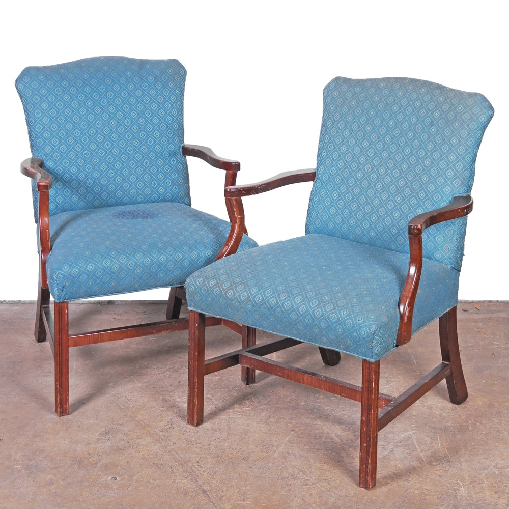 Vintage Federal Style Blue Upholstered Armchairs by Parker Southern