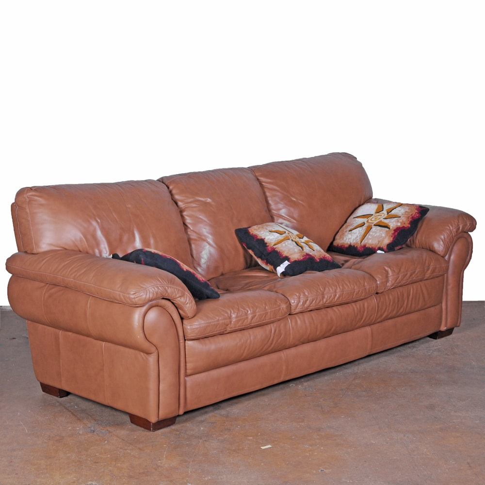 Brown Leather Sofa by Ethan Allen