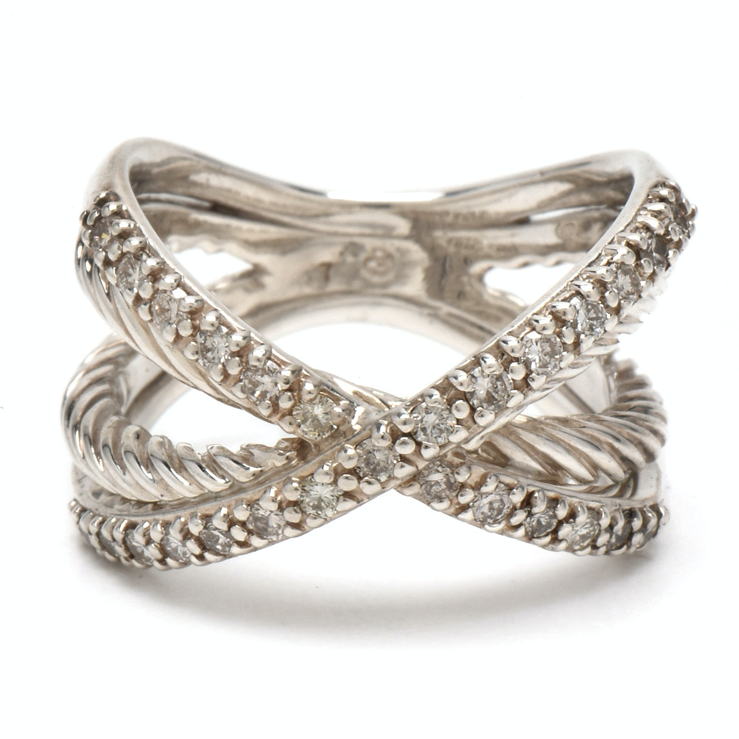 "David Yurman Sterling Silver and Diamond ""Crossover"" Ring"
