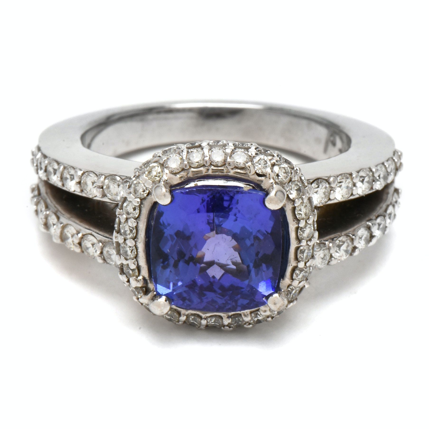 14K White Gold 2.15 CT Tanzanite Diamond Ring