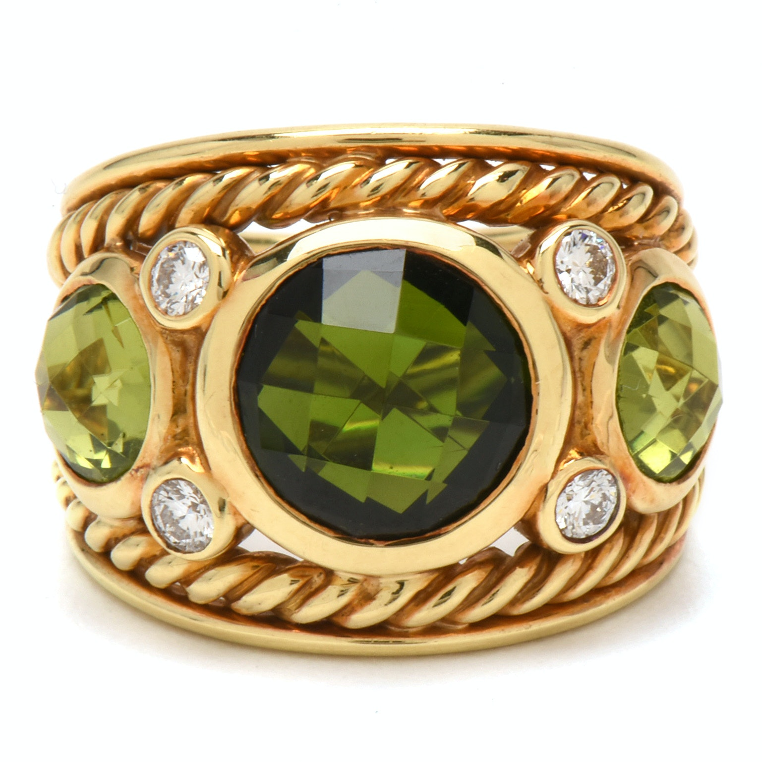 David Yurman 18K Yellow Gold Tourmaline, Peridot and Diamond Dome Cable Band