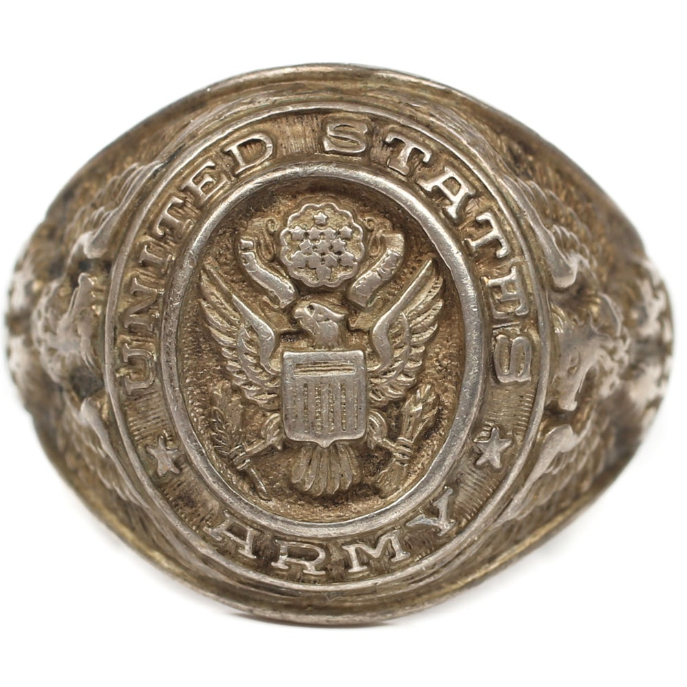 Vintage Sterling Silver US Army Signet Ring