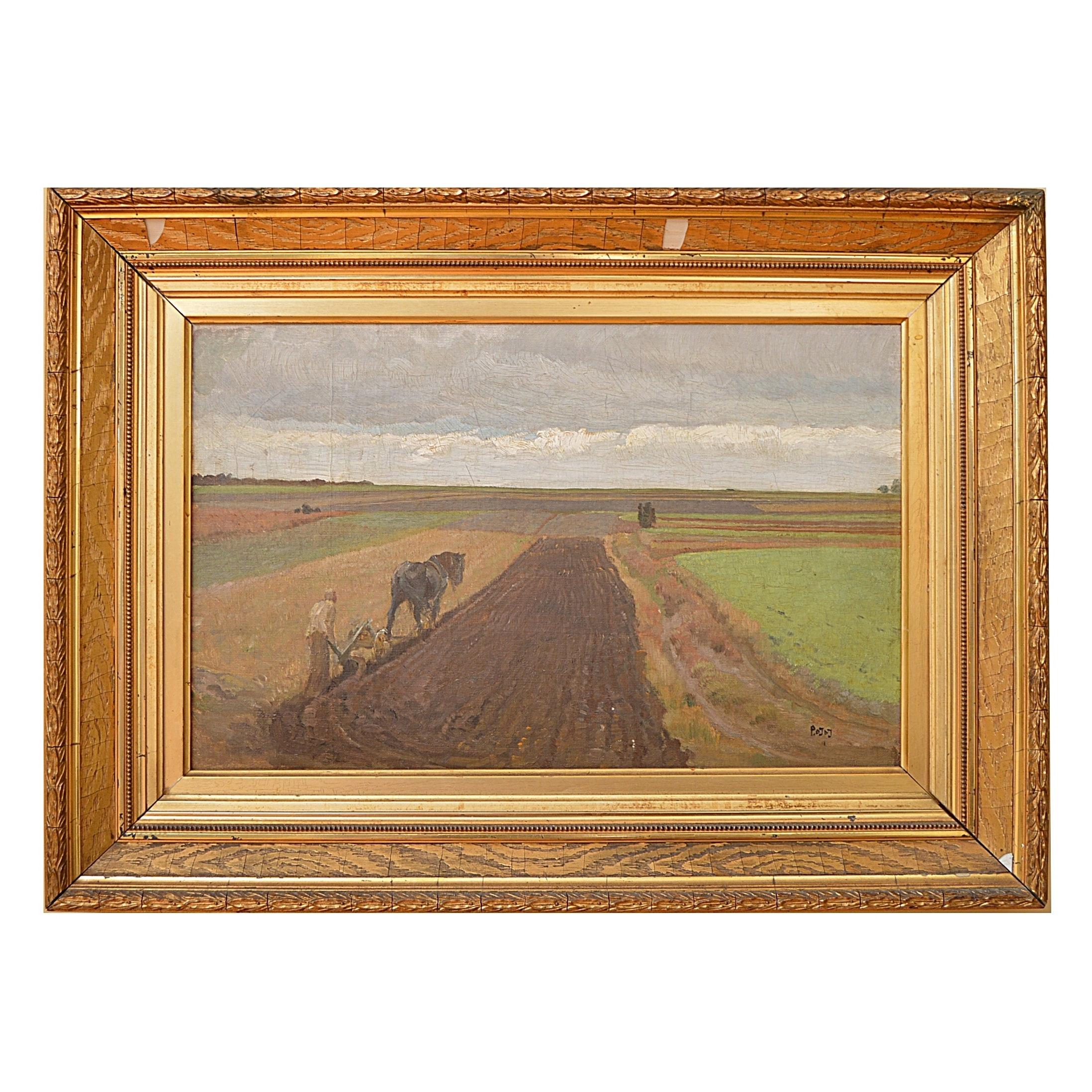 """Oil Painting Attributed to Pieter de Josselin de Jong """"Ploegen"""""""