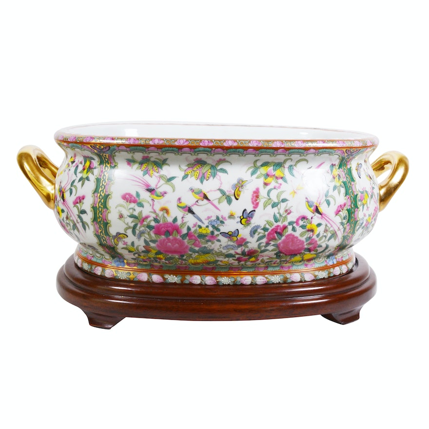 "Chinese ""Rose Canton"" Style Porcelain Footbath on Wood Stand"