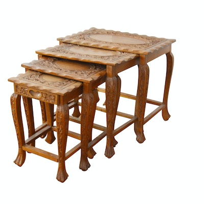 Vintage Asian Inspired Carved Nesting Tables