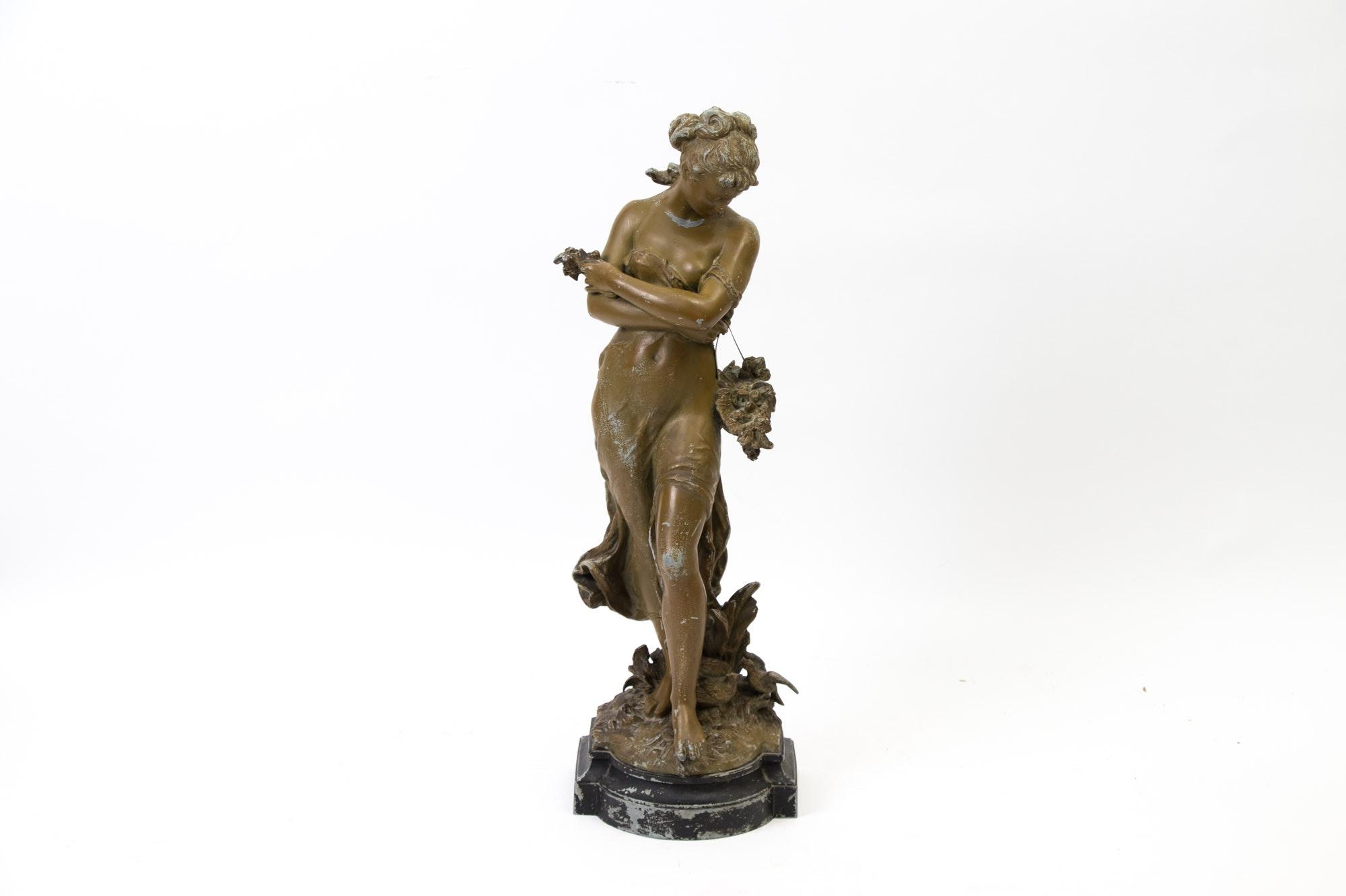 """Cast Metal Sculpture """"Le Printemps"""" After Hippolyte François Moreau"""