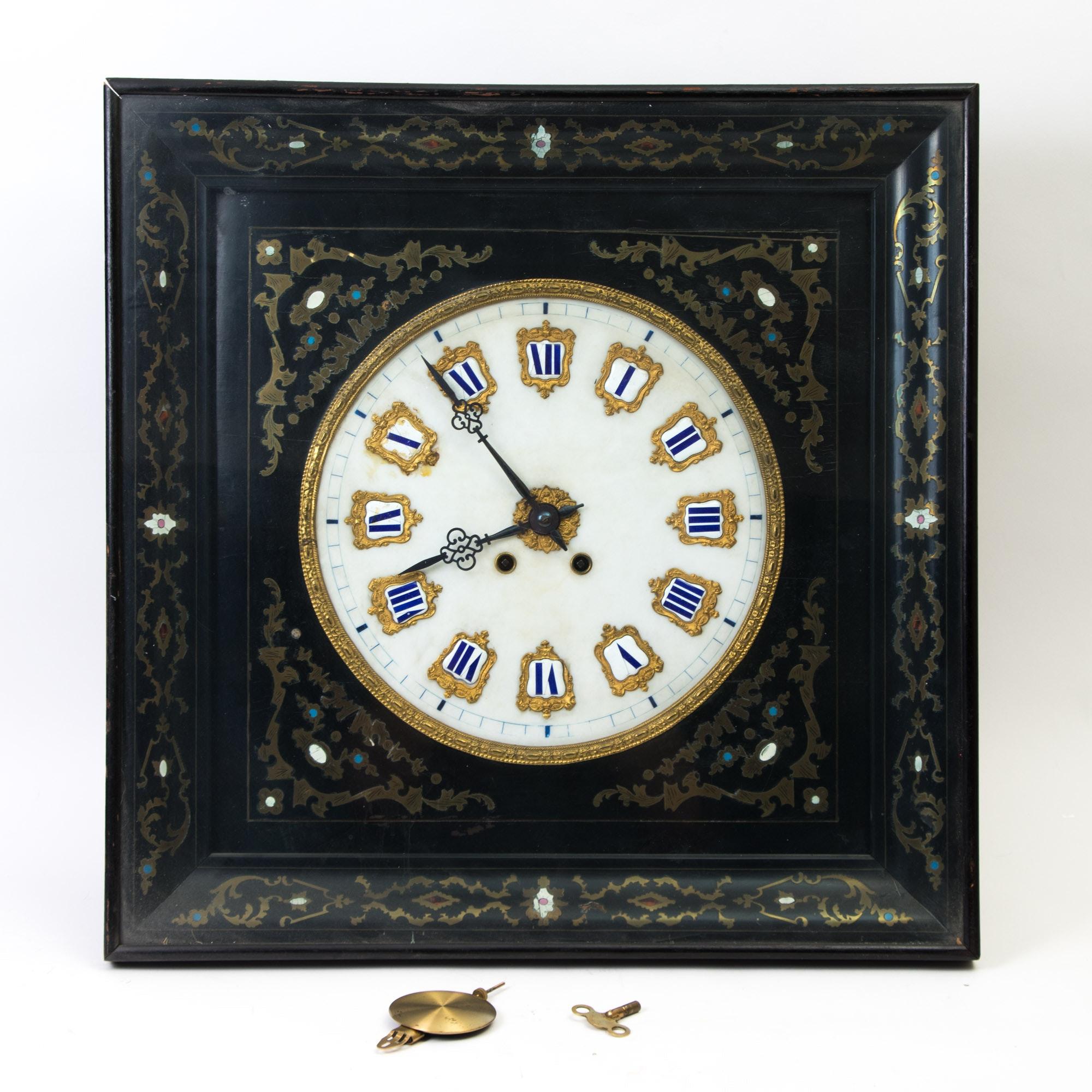 Antique Champlevé Style Clock