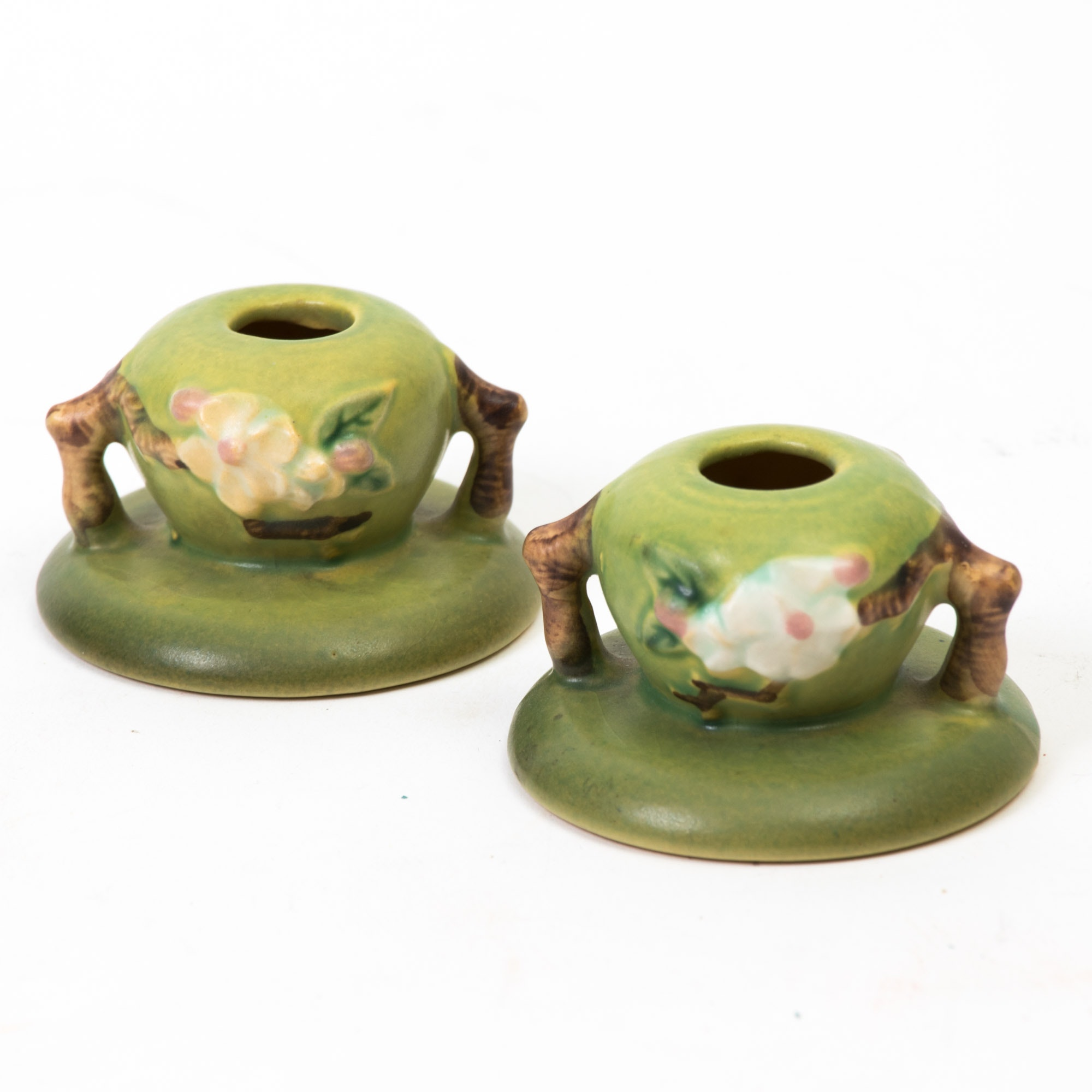 """Roseville Pottery """"Apple Blossom"""" Candle Holders"""
