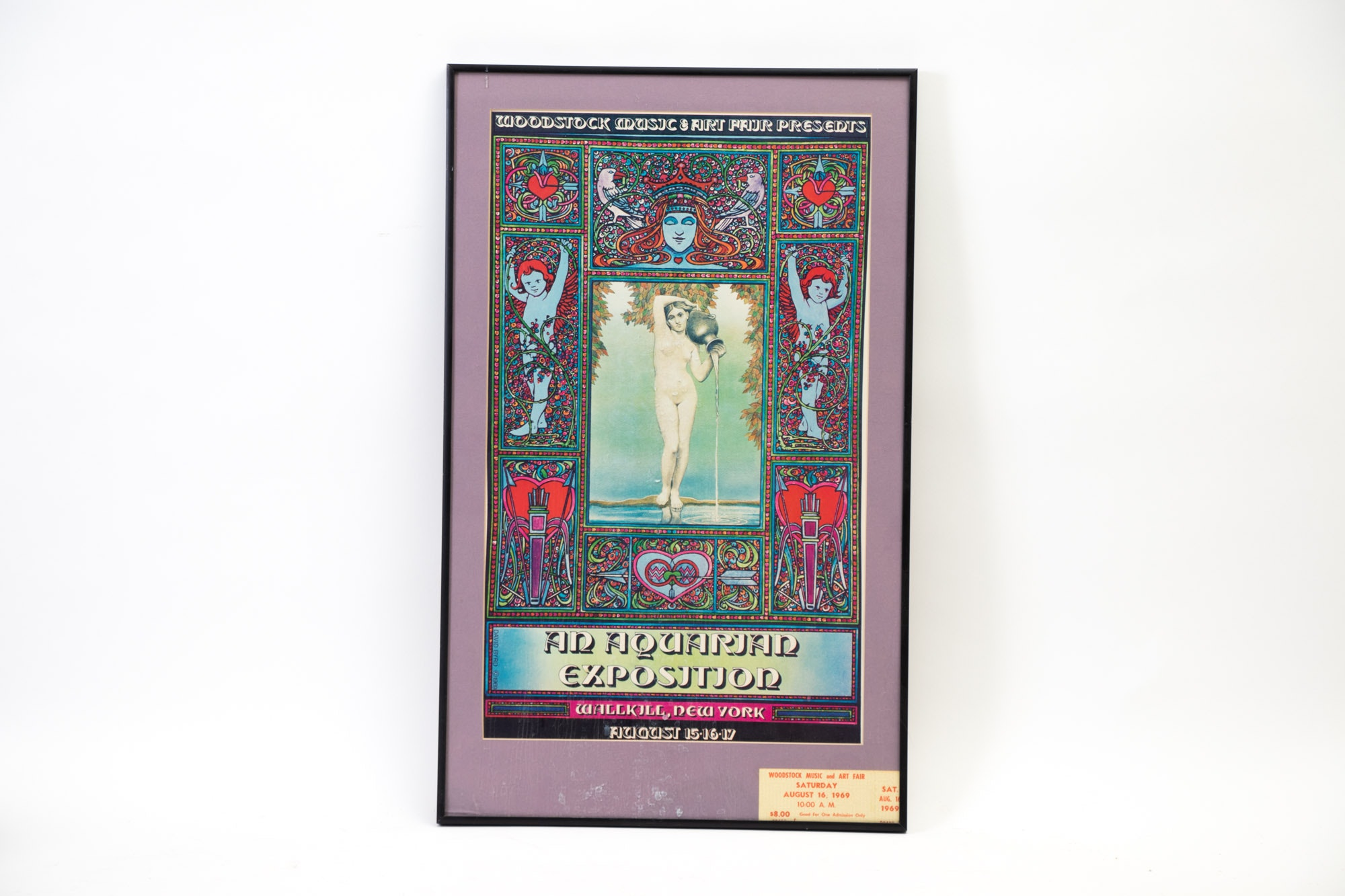 Framed Woodstock Poster and Ticket