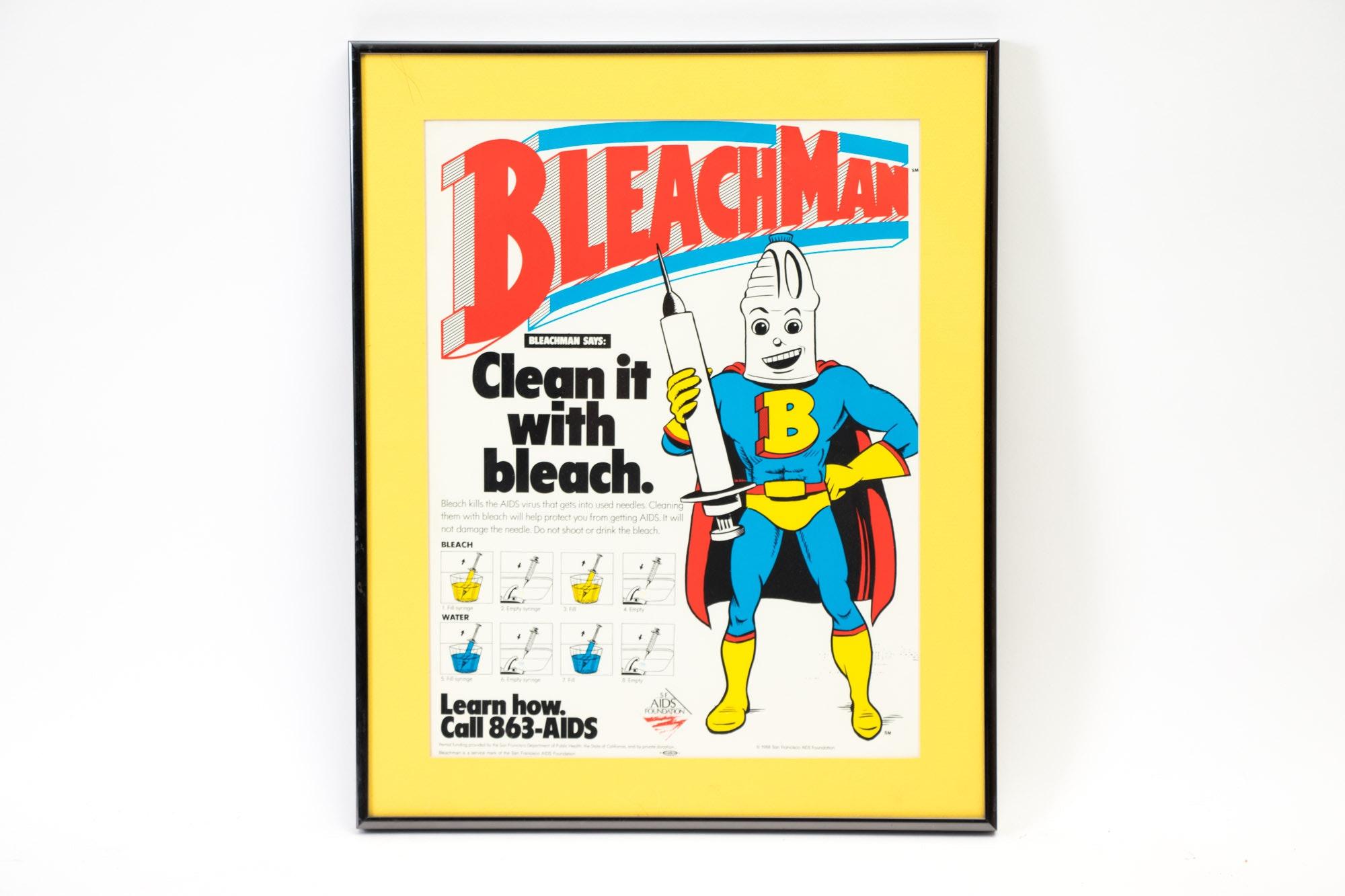 1980s Framed Bleach Advertisement