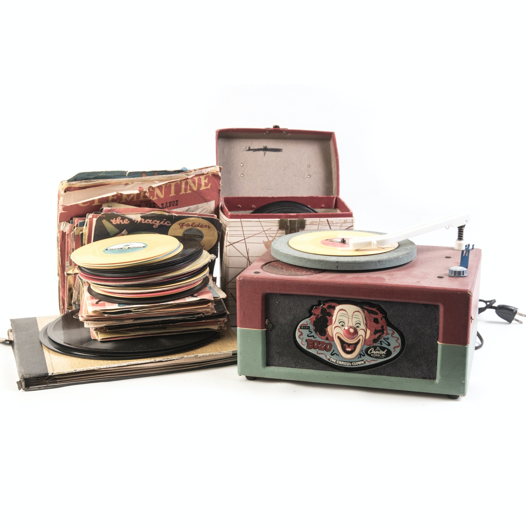 """Vintage """"Bozo The Clown"""" Record Player and Record Collection"""