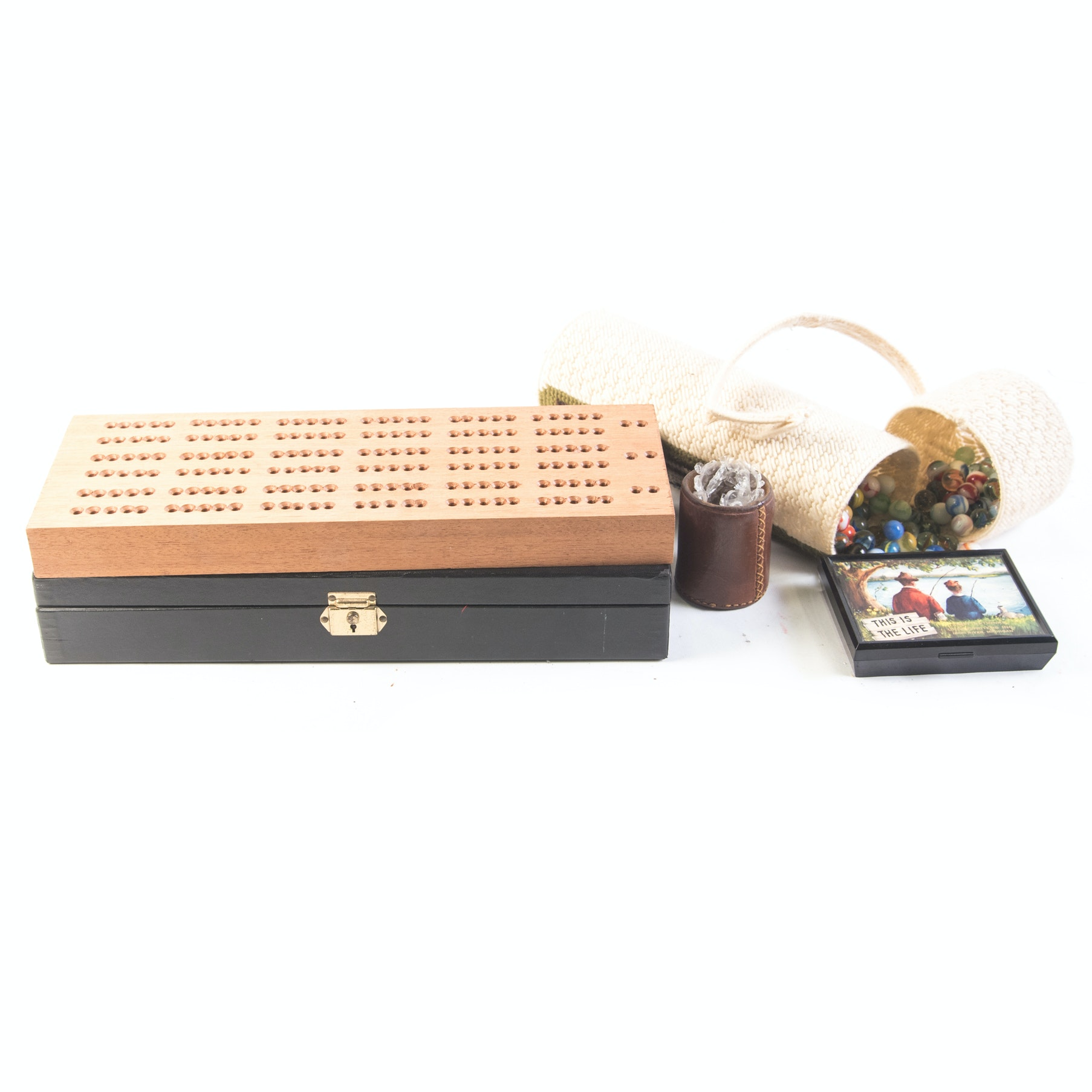 Poker, Cribbage, Dice, and Marbles Assortment