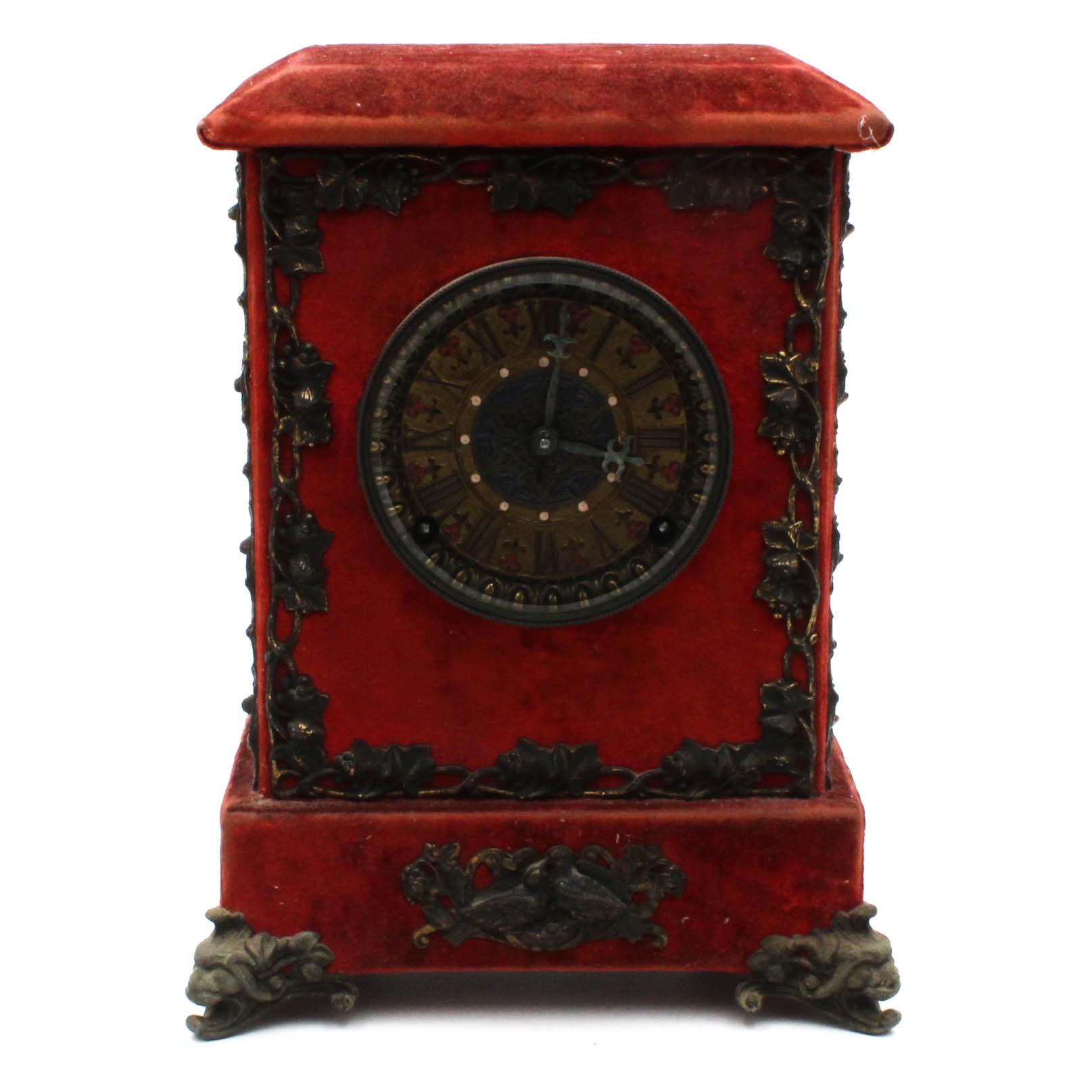 Antique Ansonia Red Velvet and Enameled Mantle Clock
