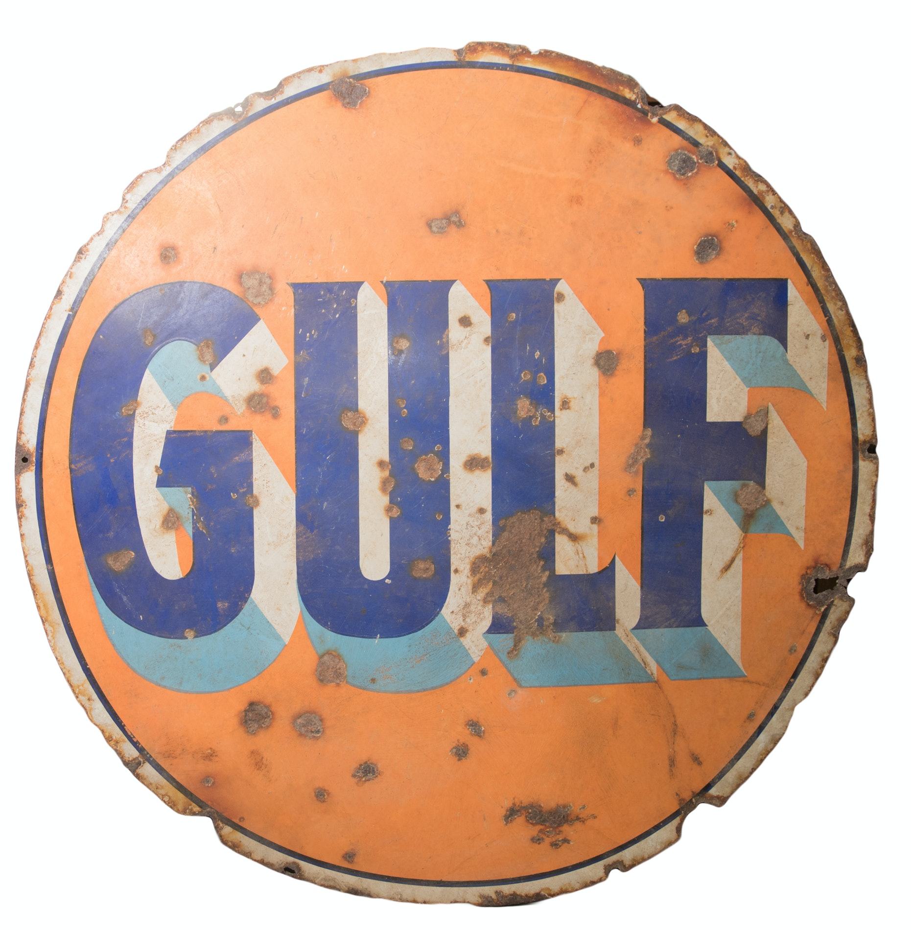 Vintage Double Sided Gulf Sign