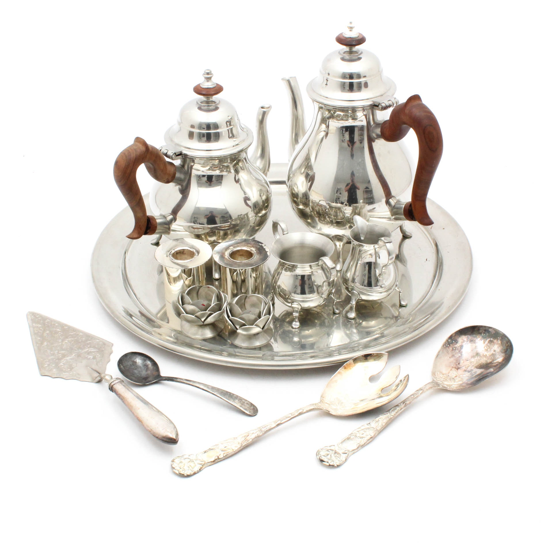 Pewter Coffee and Tea Service with Silver Plate Tableware
