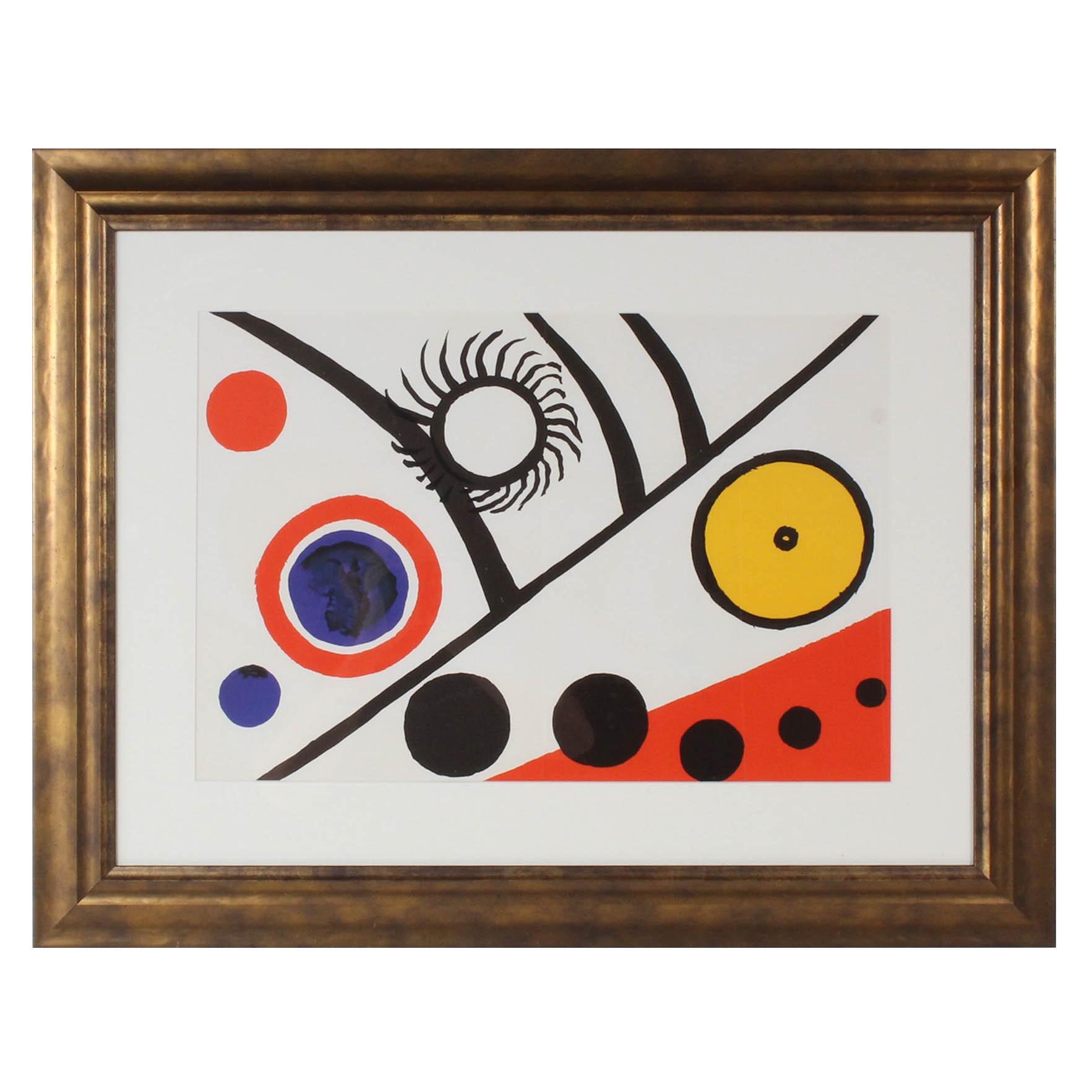 """Alexander Calder Color Lithograph from 1975 """"Derriere le Miroir, No. 221"""""""