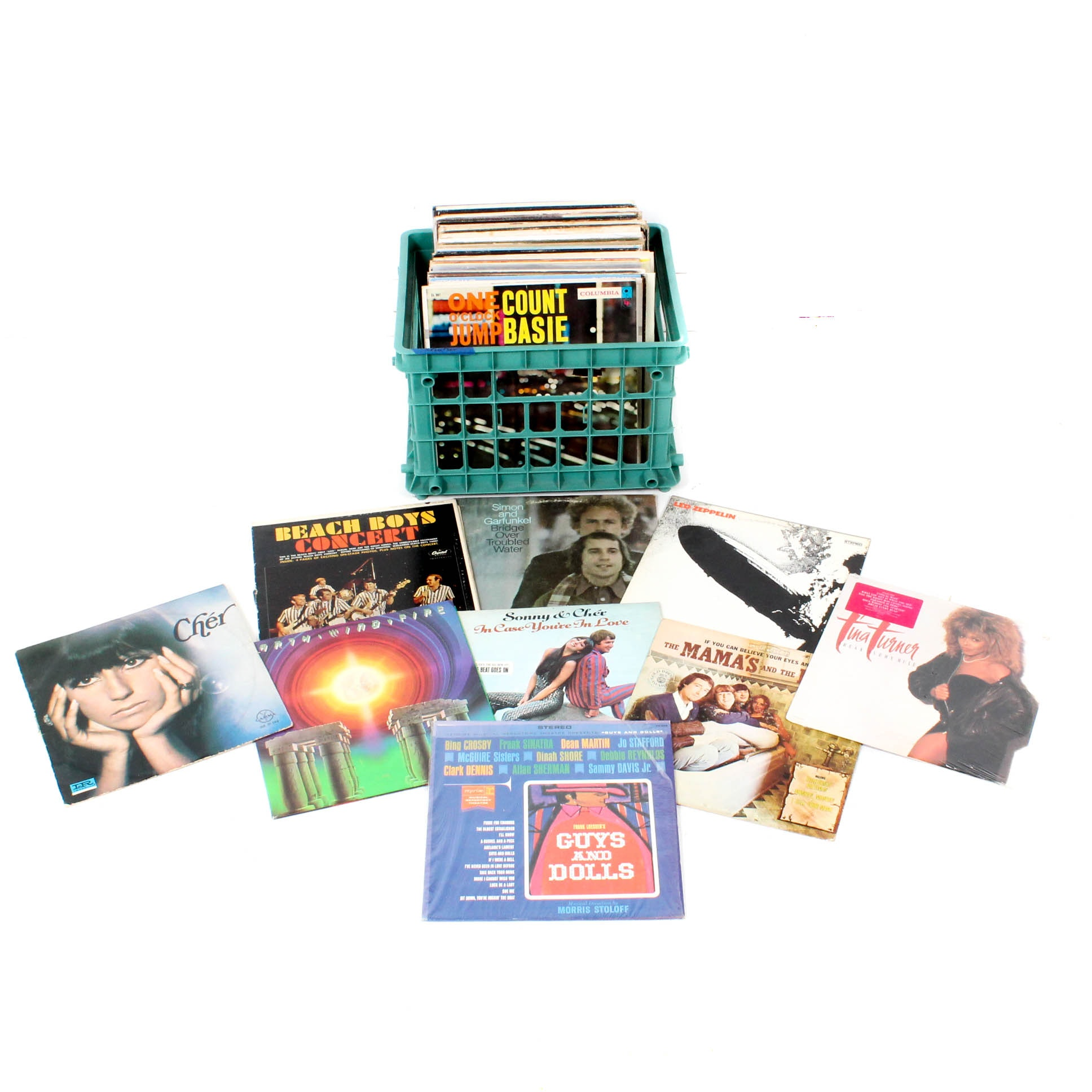 Vinyl Records Featuring Led Zeppelin, Mama's and Papa's, Simon and Garfunkel