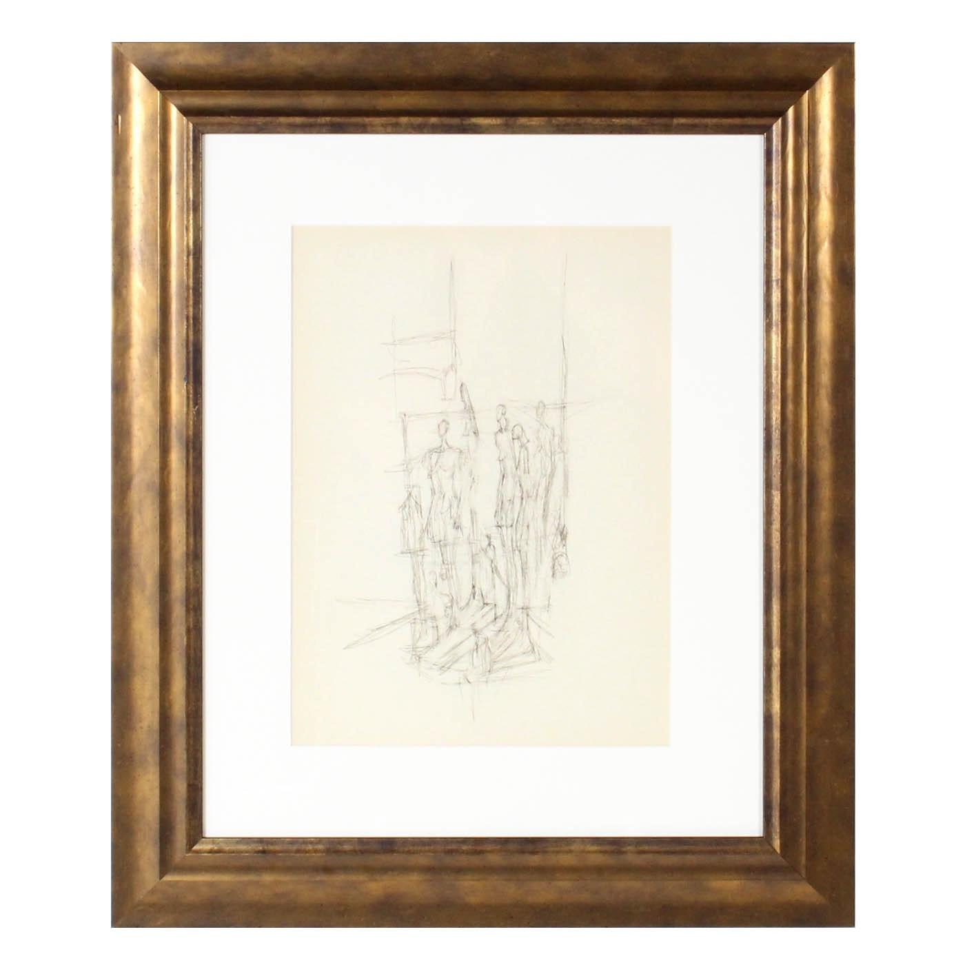 """Alberto Giacometti 1957 Lithograph for """"Derrière le Miroir, No 98"""""""