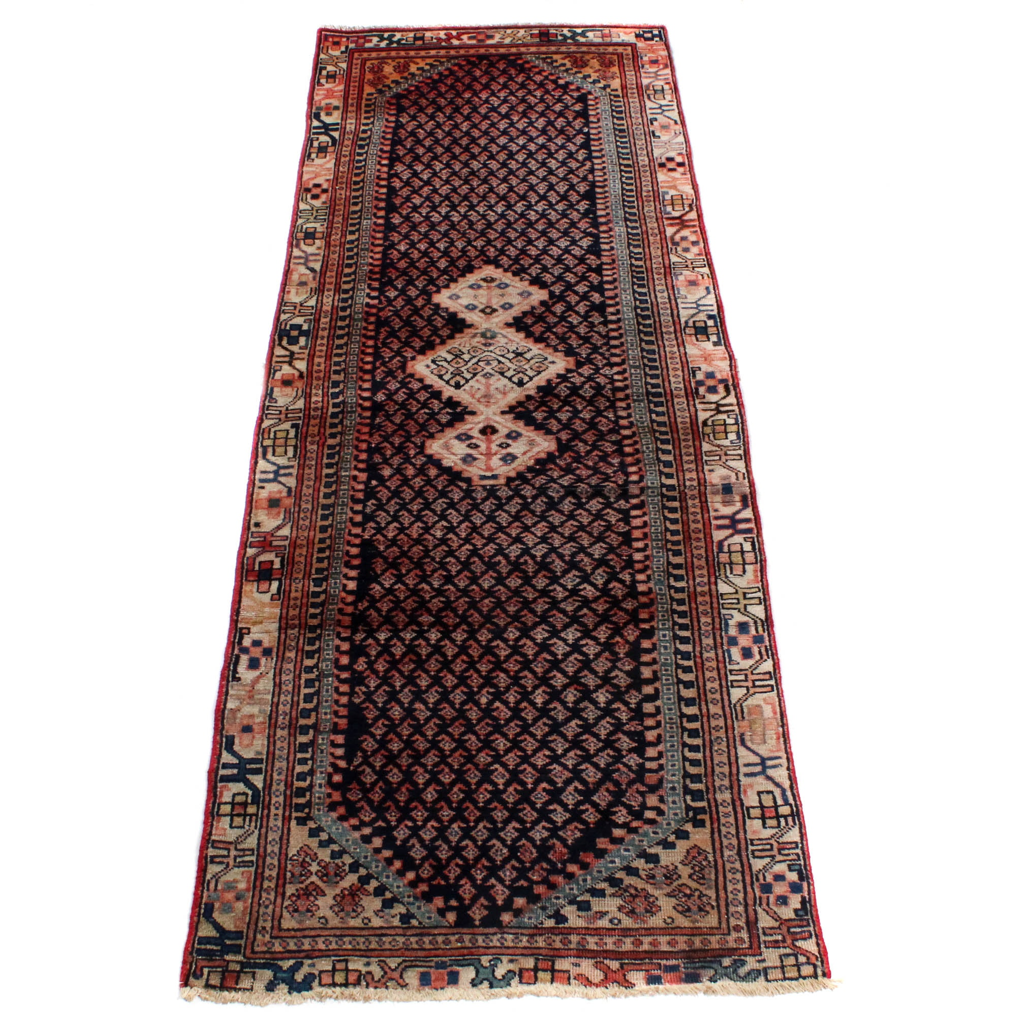 Vintage Hand-Knotted Persian Boteh Sarouk Rug