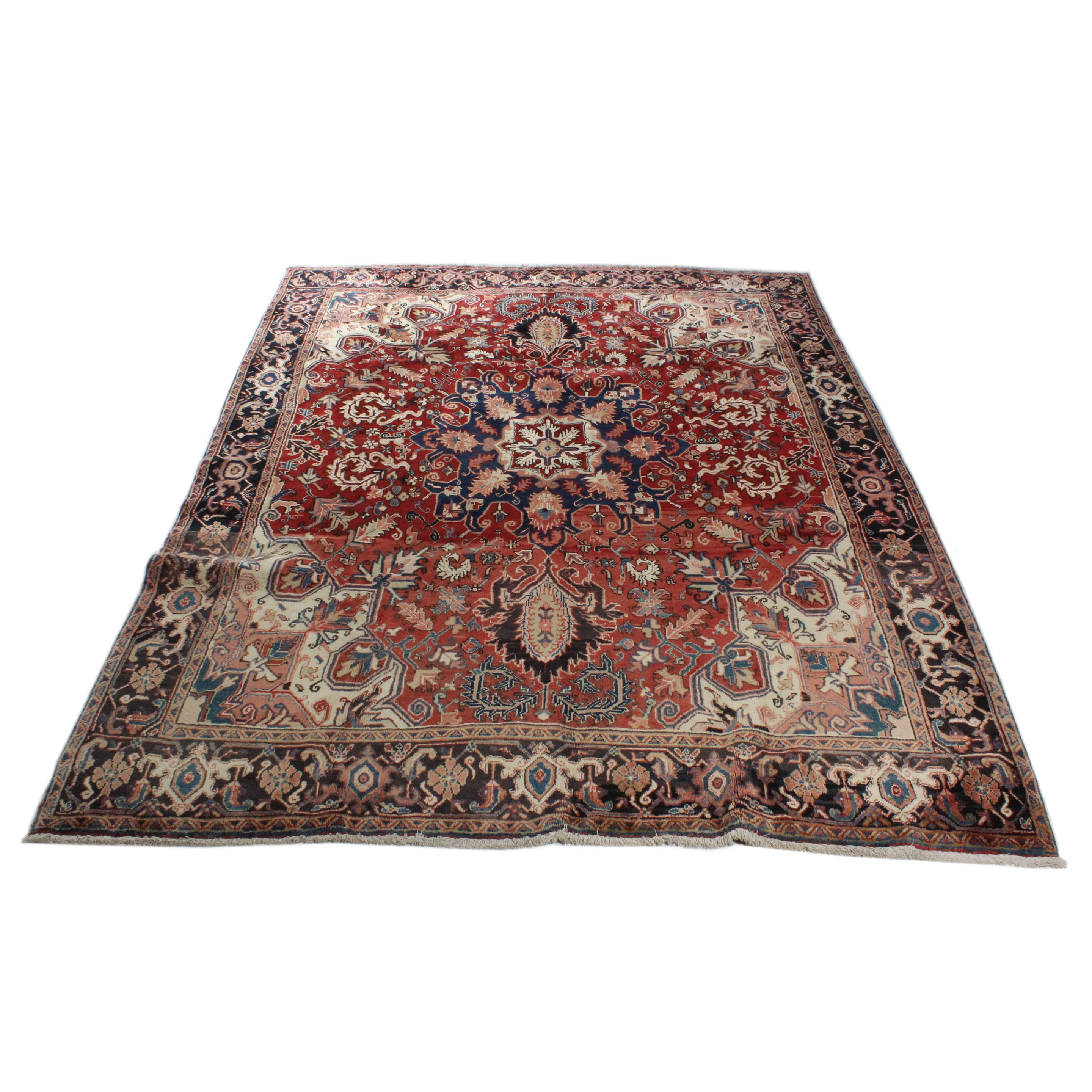 Semi-Antique Hand-Knotted Persian Heriz Room Size Rug