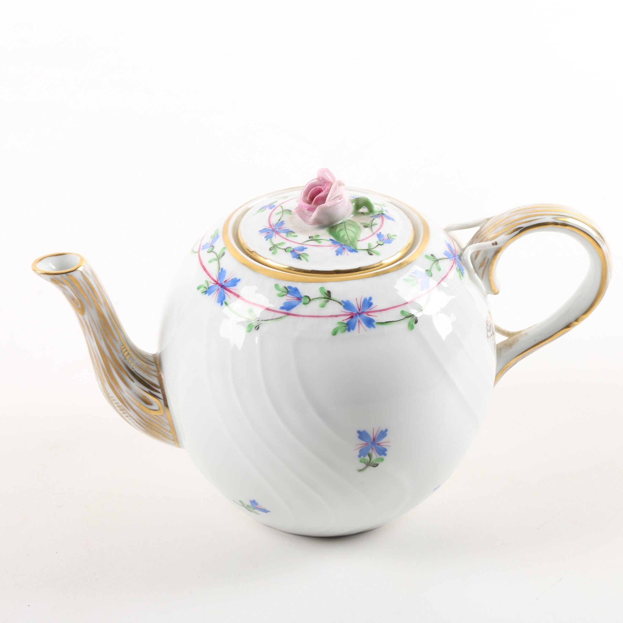 "Herend Hand-Painted ""Blue Garland"" Porcelain Teapot"