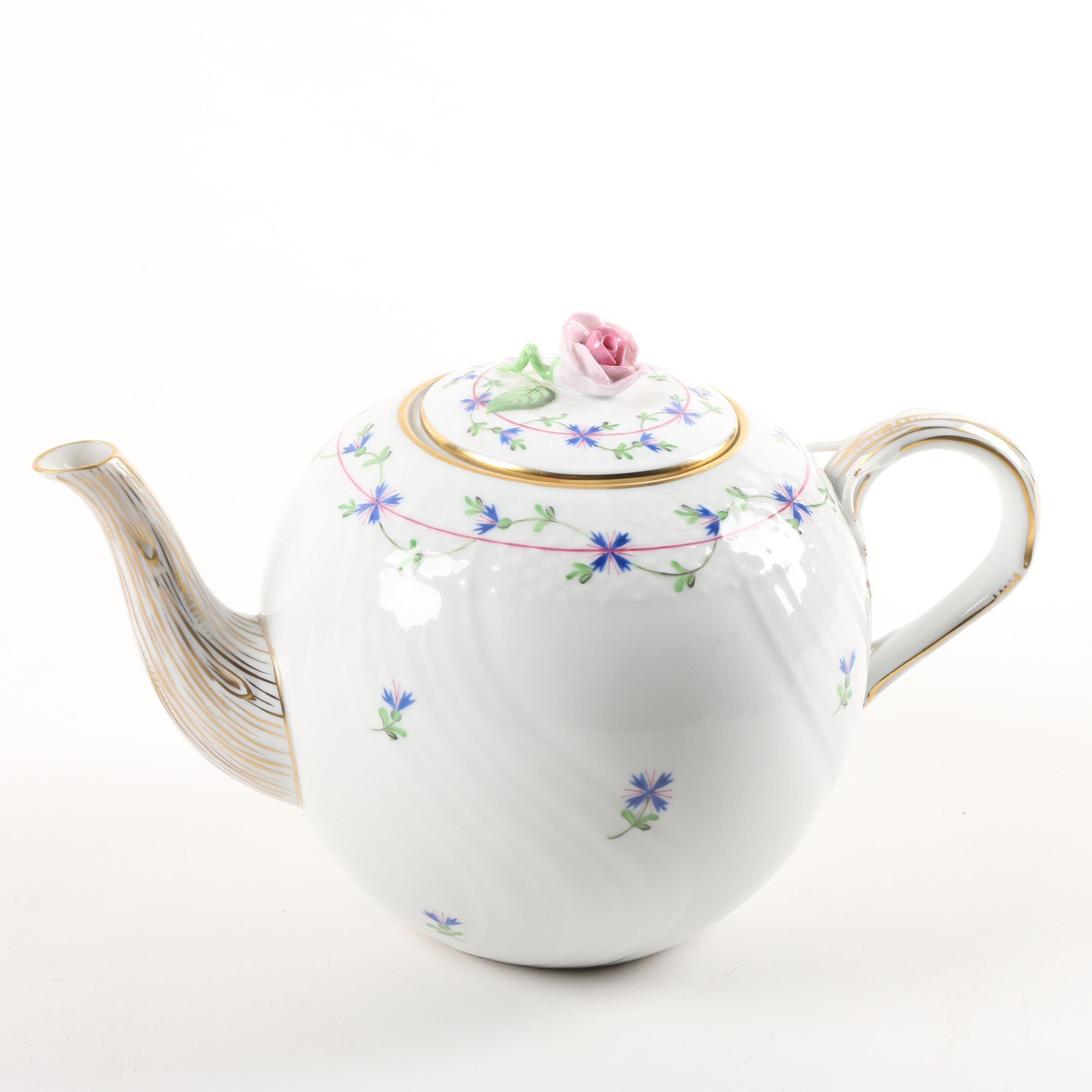 "Herend Hand-Painted ""Blue Garland""Porcelain Teapot"