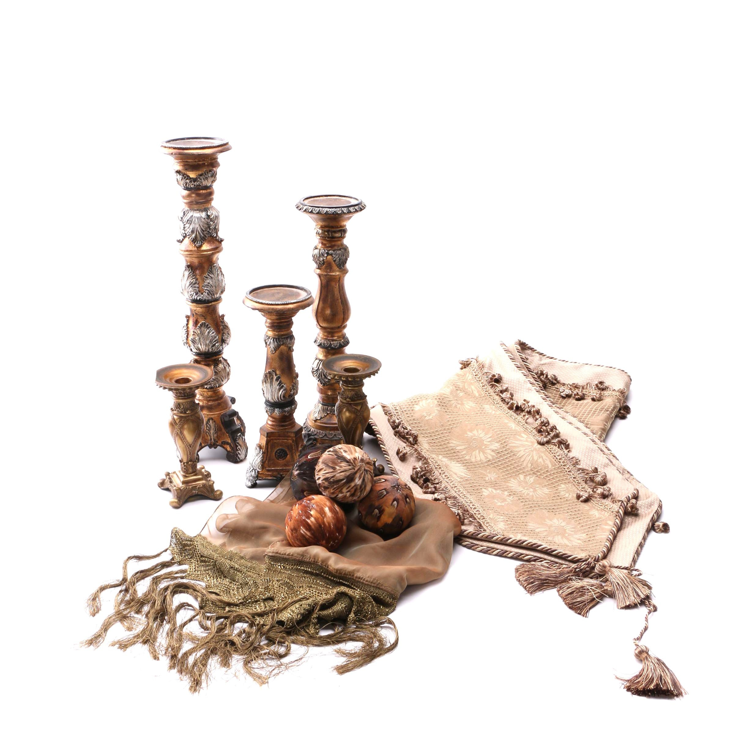 Pillar Candle Holders with Feathered Orbs and Table Runners