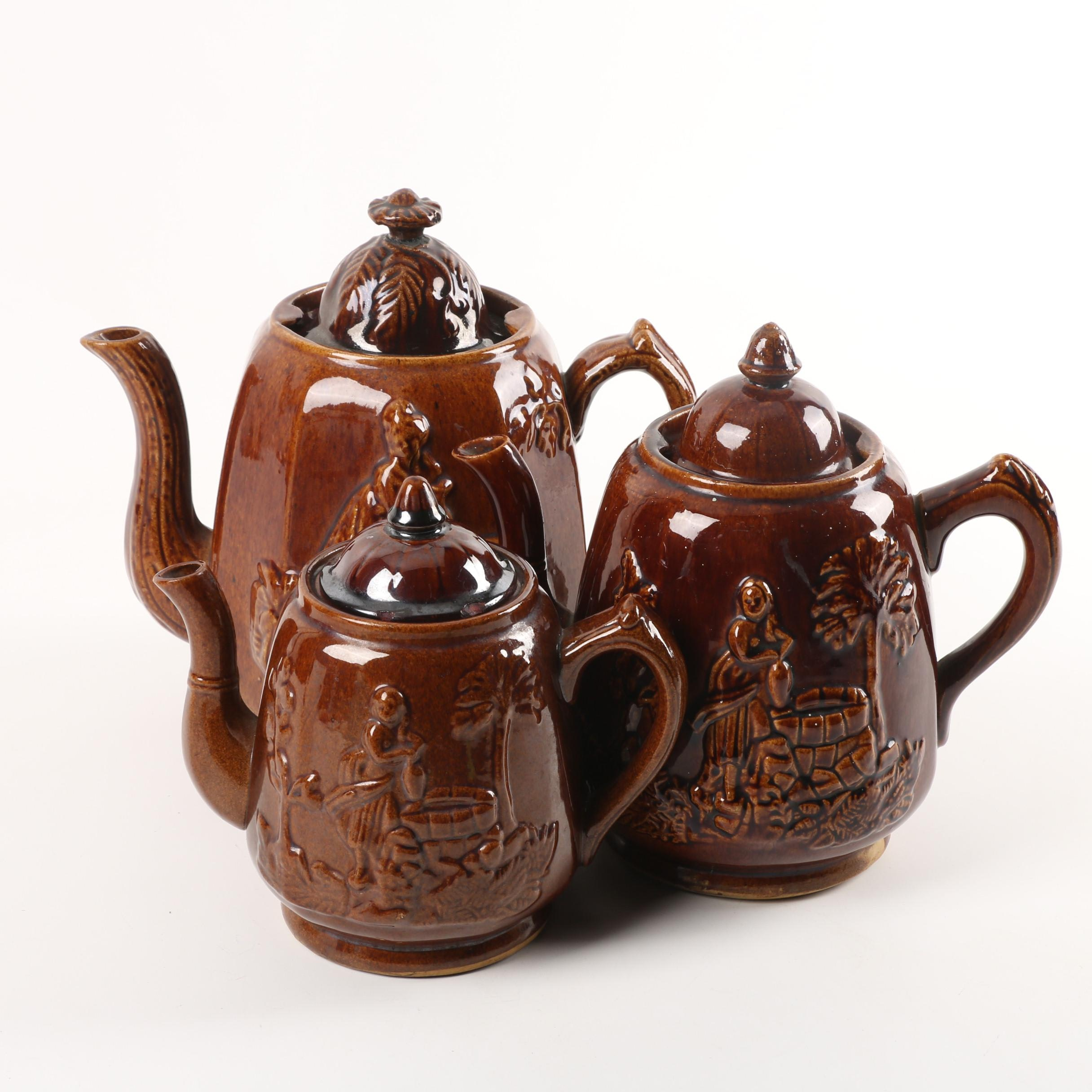 "Antique Rockingham Glazed ""Rebecca at the Well"" Teapots Circa 1840-80"