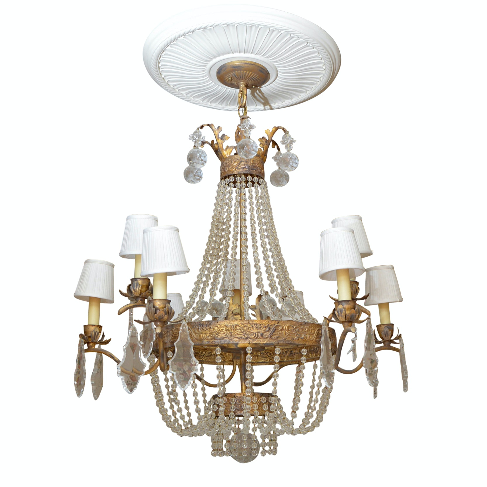 Vintage Neoclassical Style Crystal and Gilt Metal Chandelier