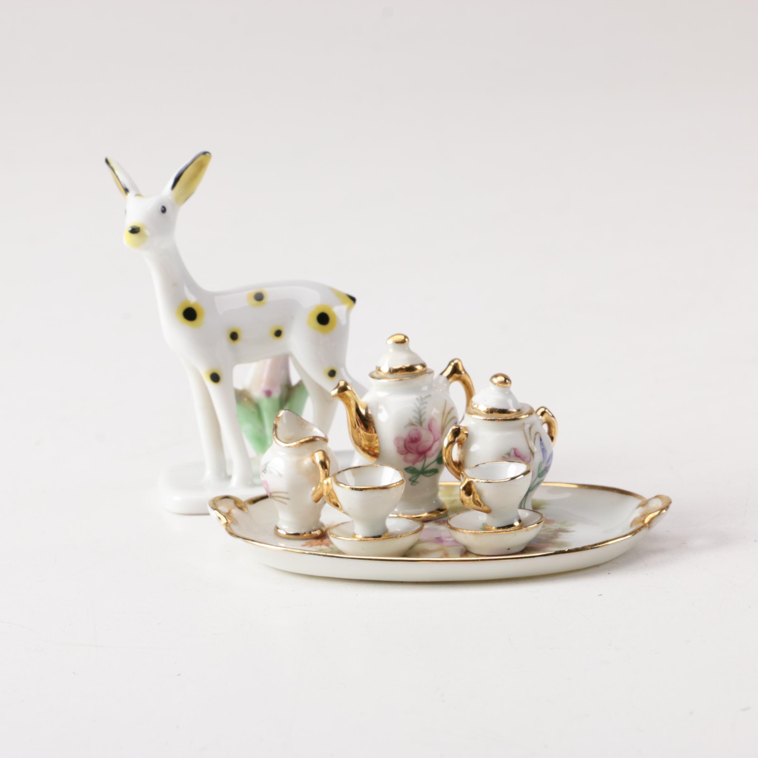 Miniature Porcelain Tea Set and Deer Figurine