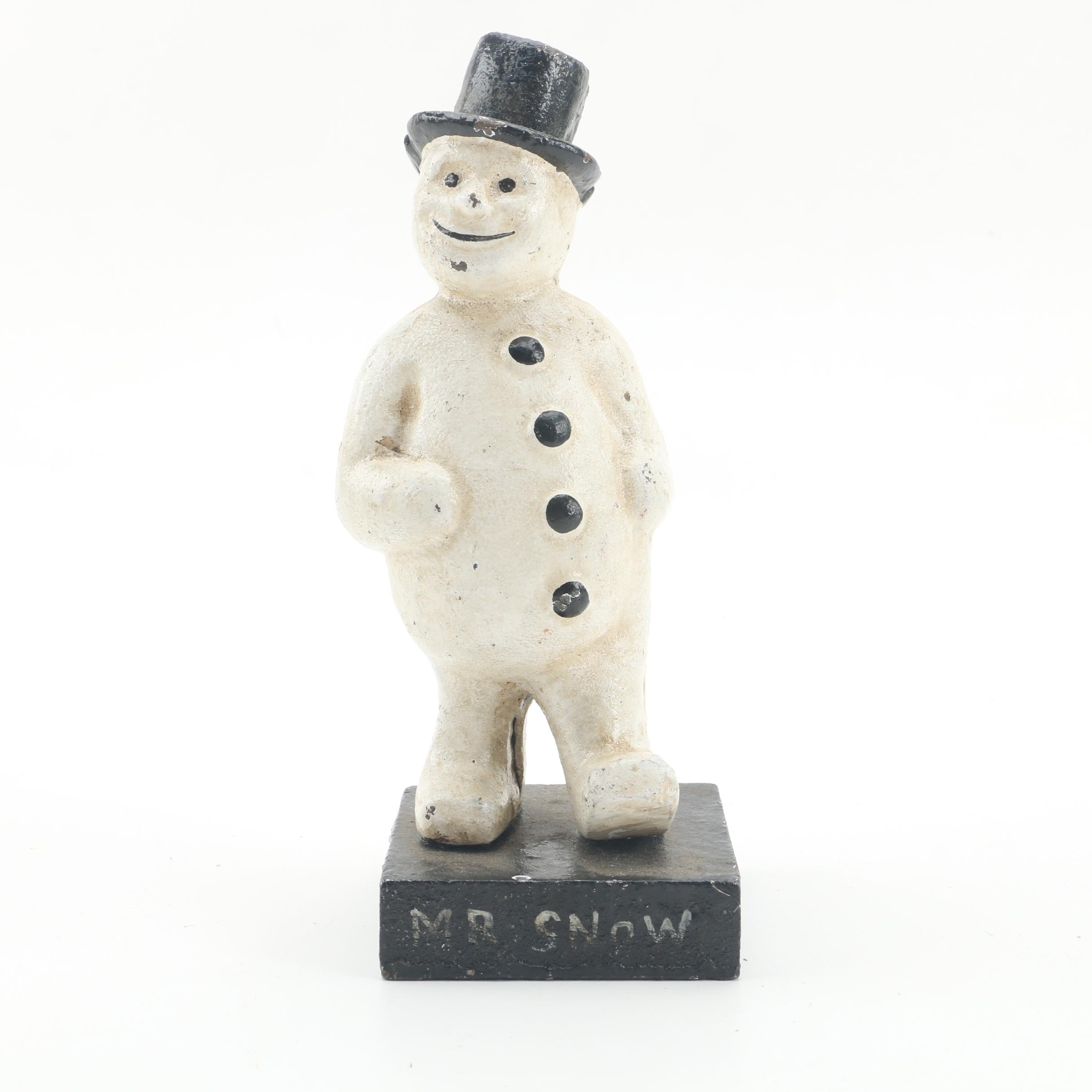 "Reproduction Cast Iron ""Mr Snow"" Coin Bank"