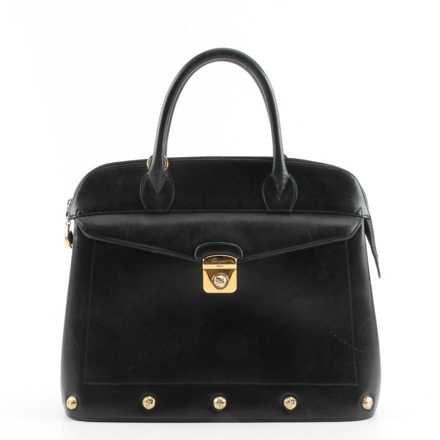 Salvatore Ferragamo Black Leather Top Handle Satchel   EBTH dfa4d3e1a7881