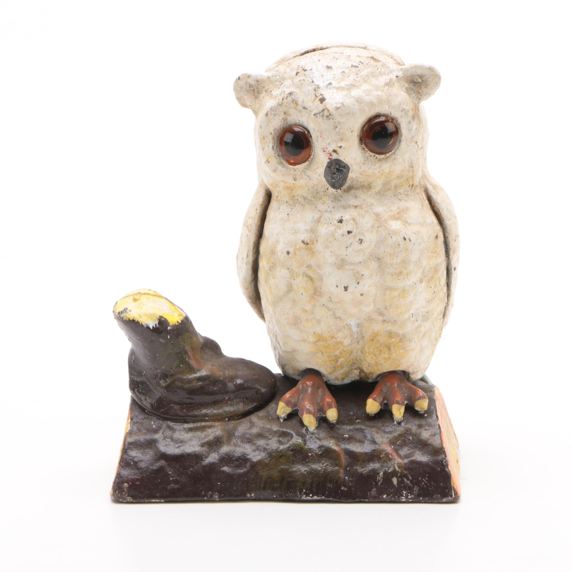 Cast Iron Perched Owl Coin Bank
