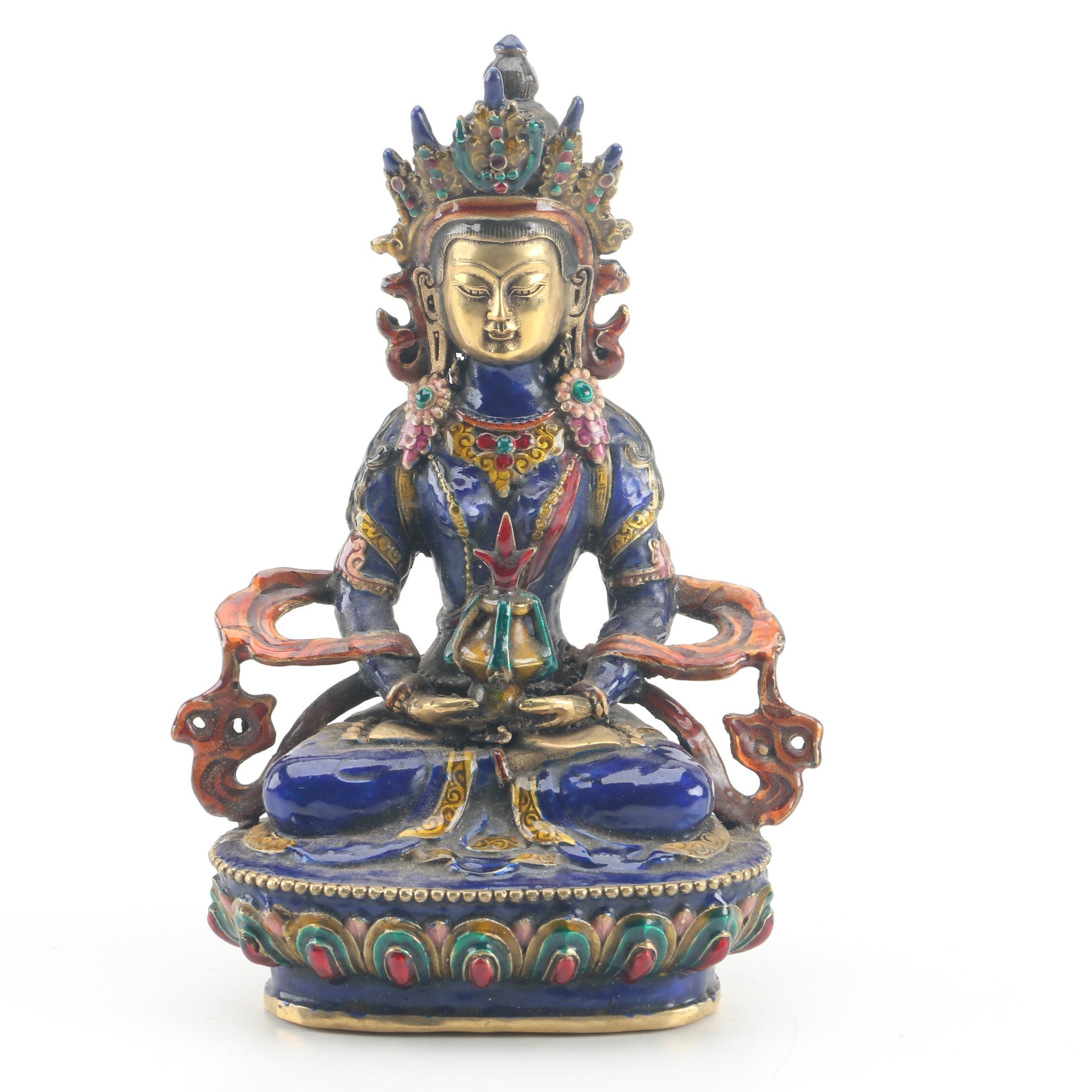 Tibetan Style Enameled Brass Maitreya Bodhisattva Figurine