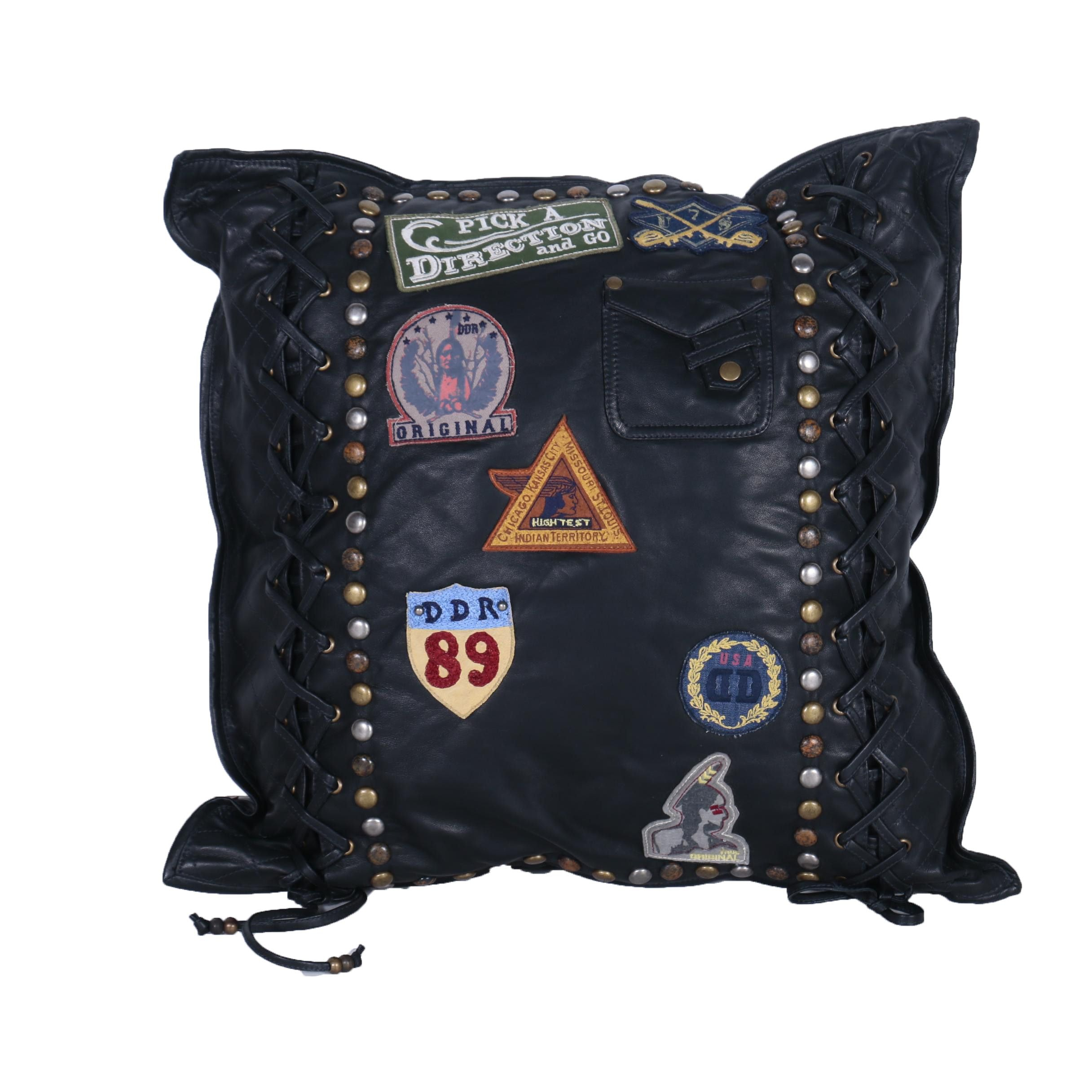 Double D Ranch Black Leather Throw Pillow