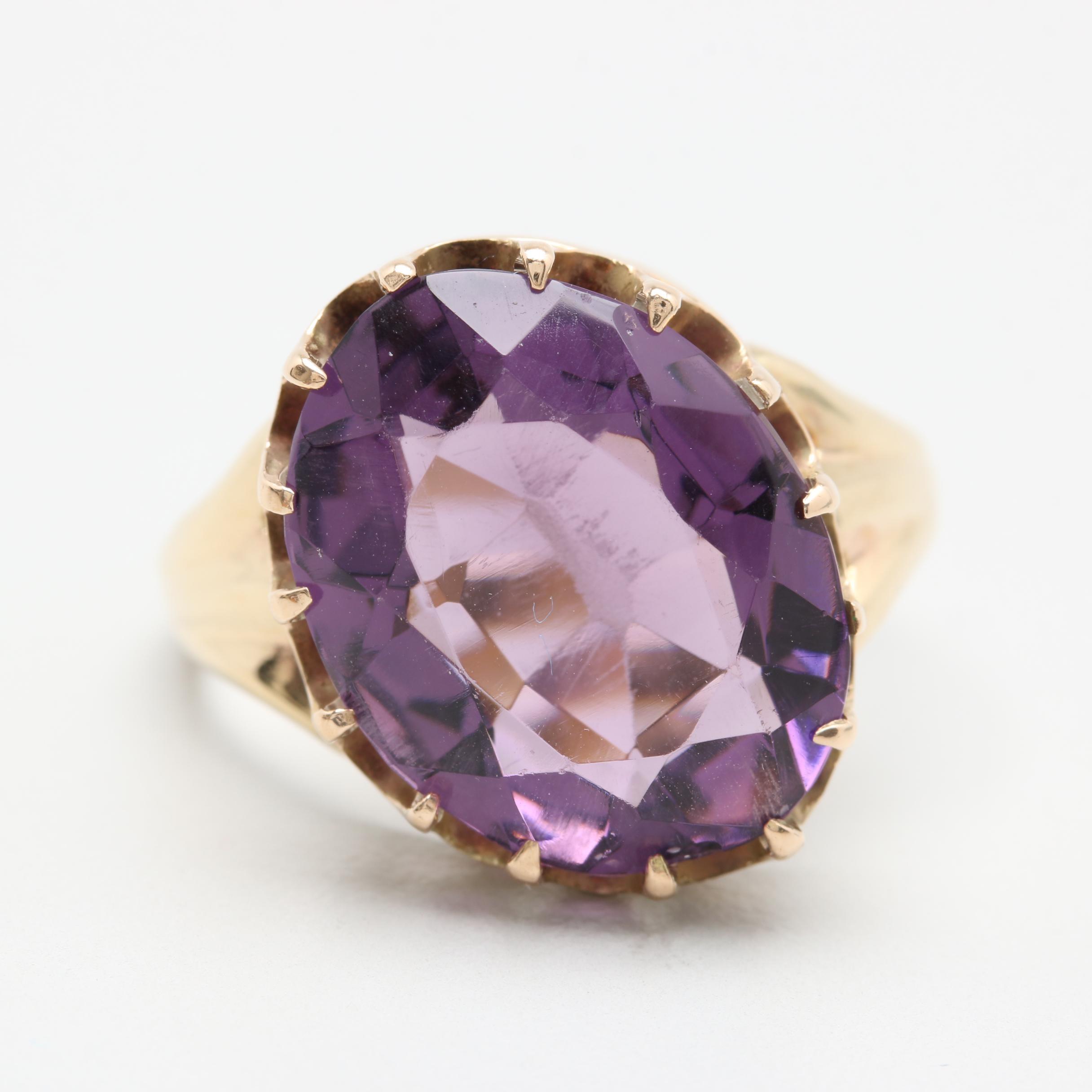 10K Yellow Gold Purple Glass Ring