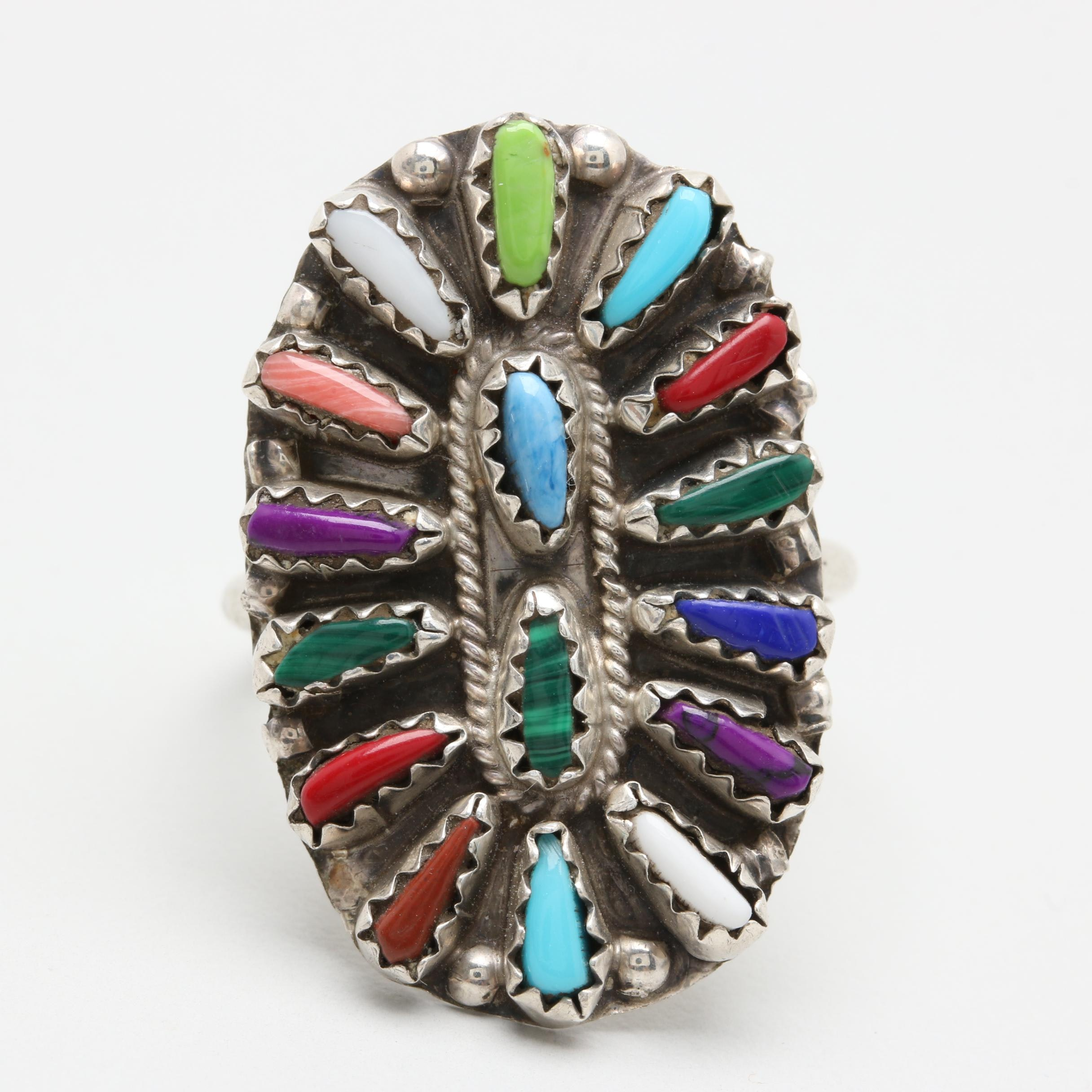 Violet Begay Navajo Diné Sterling Silver Needlepoint Ring Including Turquoise
